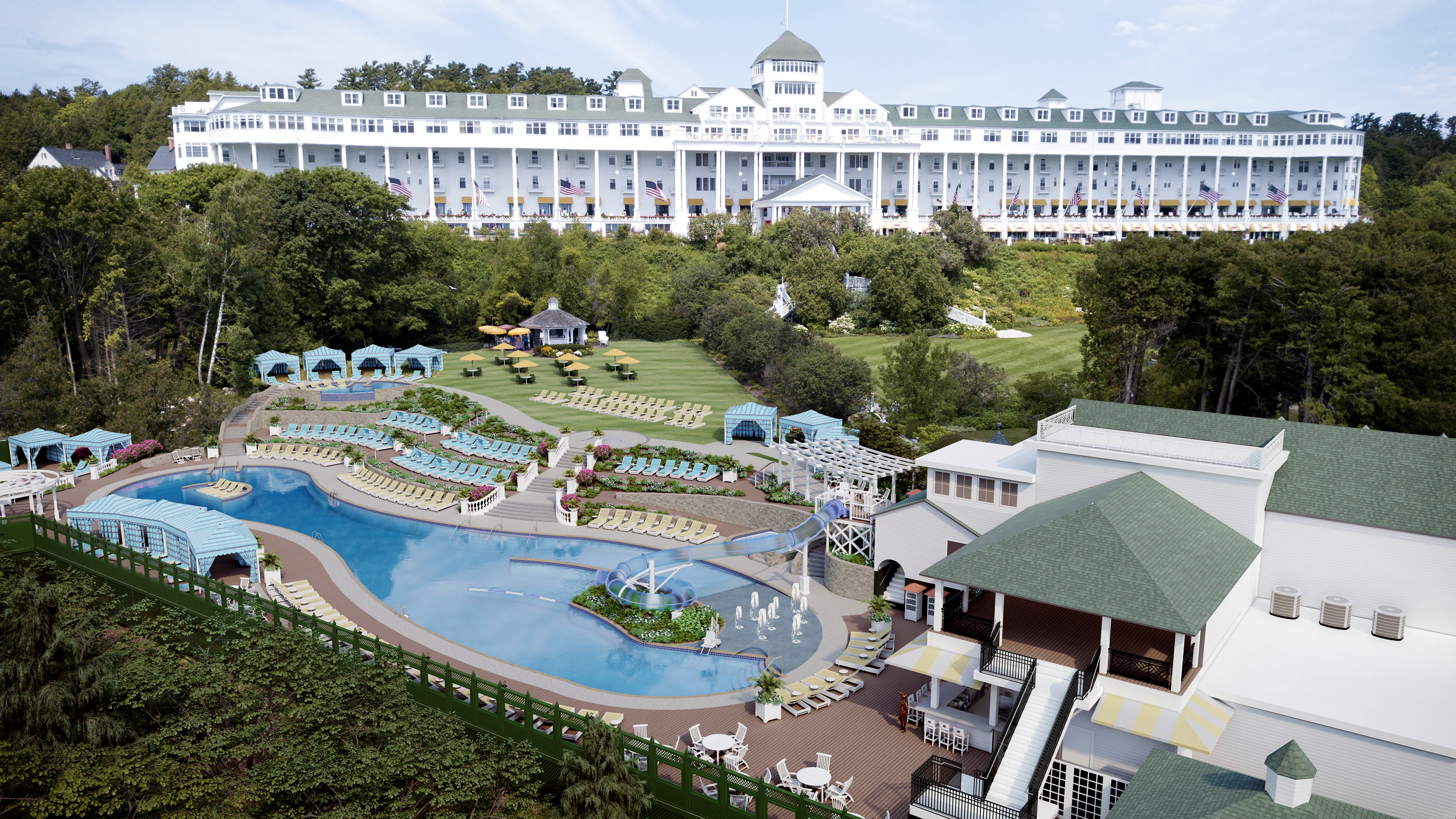 Sneak Peek At Mackinac Island S Grand Hotel Pool Renovations Waterslide Cabanas Adults Only Area Mlive Com