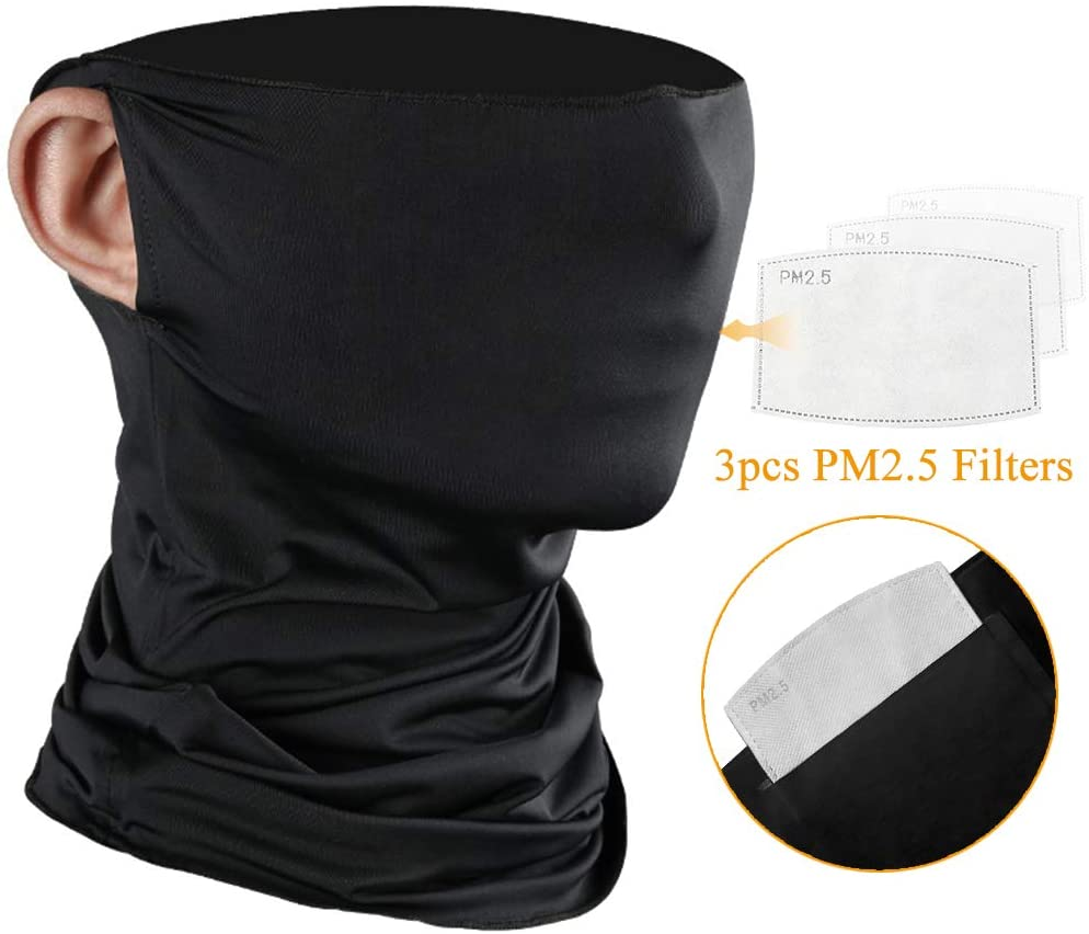3Pcs Face Scarf Masks Neck Gaiter Bandana With Safety Filters Carbon For Outdoor