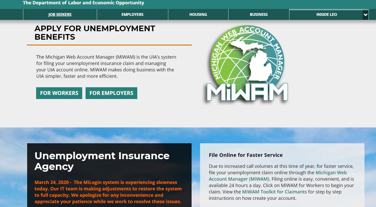 Michigan Unemployment Website Crashes As Eligibility Expansion Causes Very Heavy Volume Mlive Com
