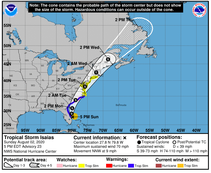 Tropical Storm Isaias Watches Issued For Most Of N J With Up 6 Inches Of Rain Flooding Possible Nj Com