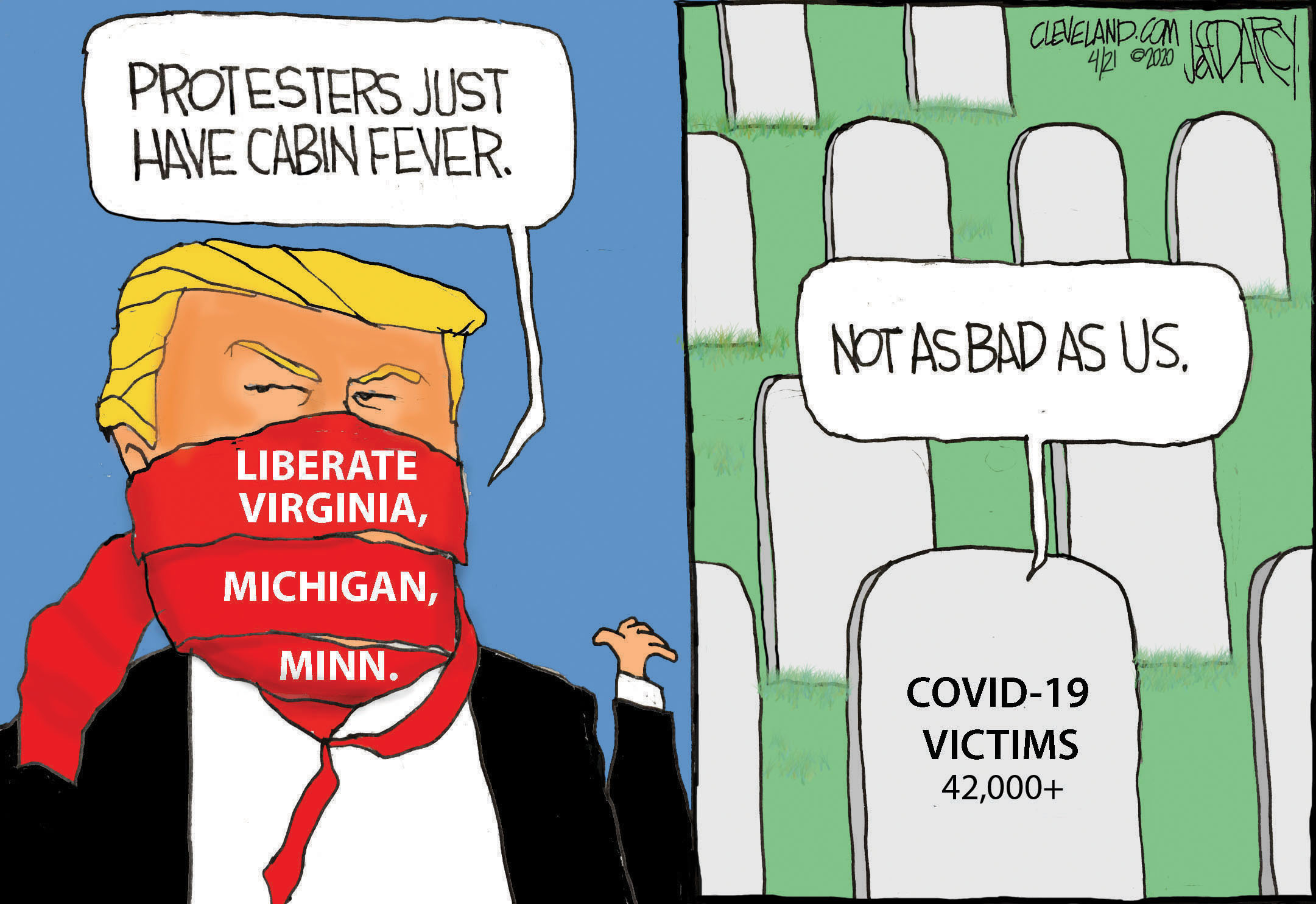 Trump Liberate Tweets Enable Protesters Darcy Cartoon Cleveland Com