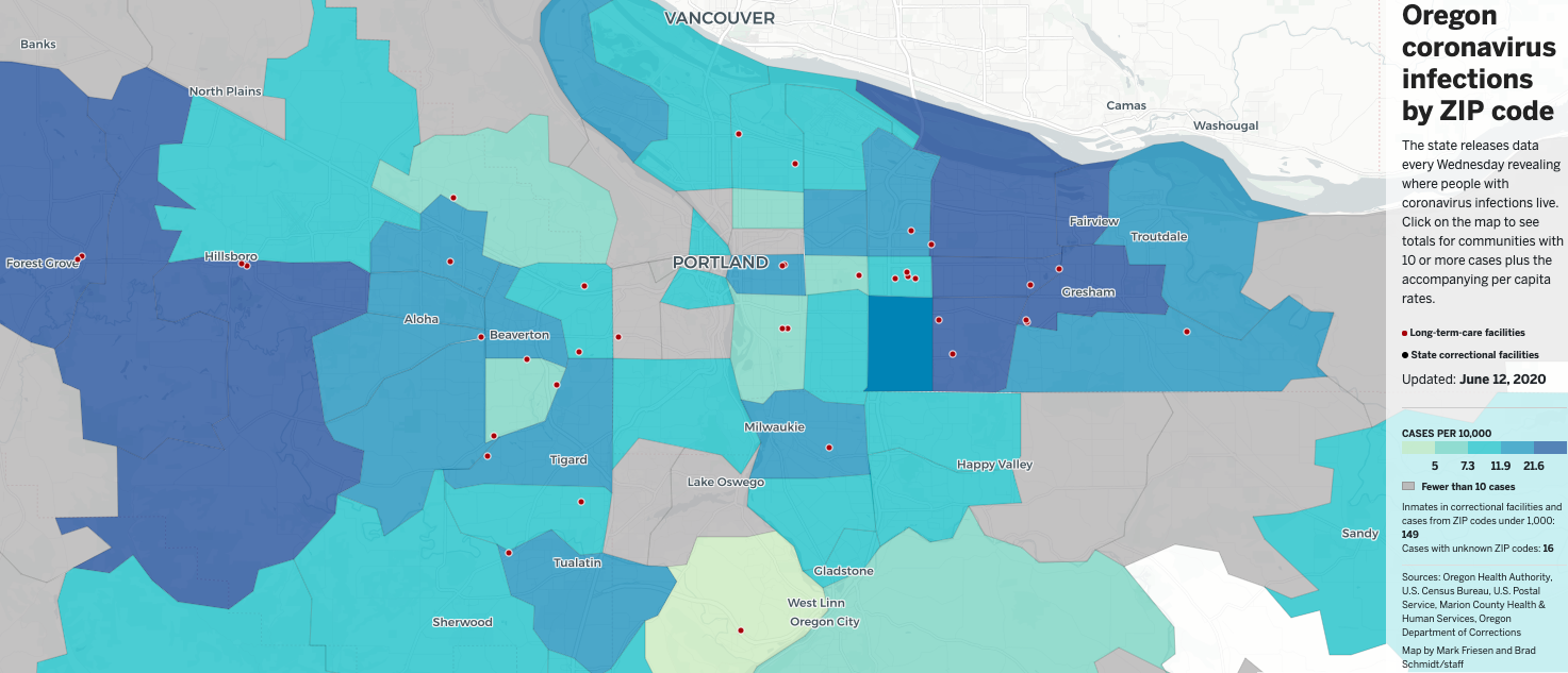 Zip Code Map Oregon The 13 Oregon ZIP codes with the most new infections   oregonlive.com