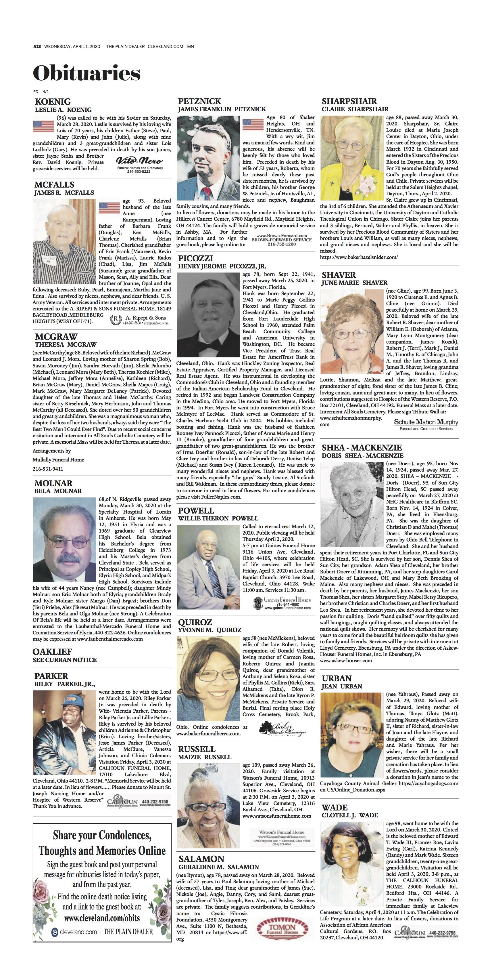 New Plain Dealer Obituaries Larger In Color And Easier To Read Tim Warsinskey Cleveland Com