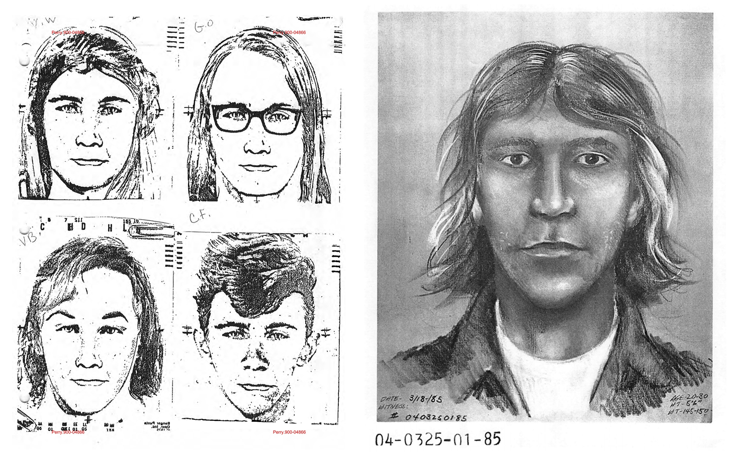 Four church witnesses who said they saw the killer each helped an artist make a sketch of the man. The four sketches became a composite that was featured on TV and in newspapers and hung on the walls of gas stations.