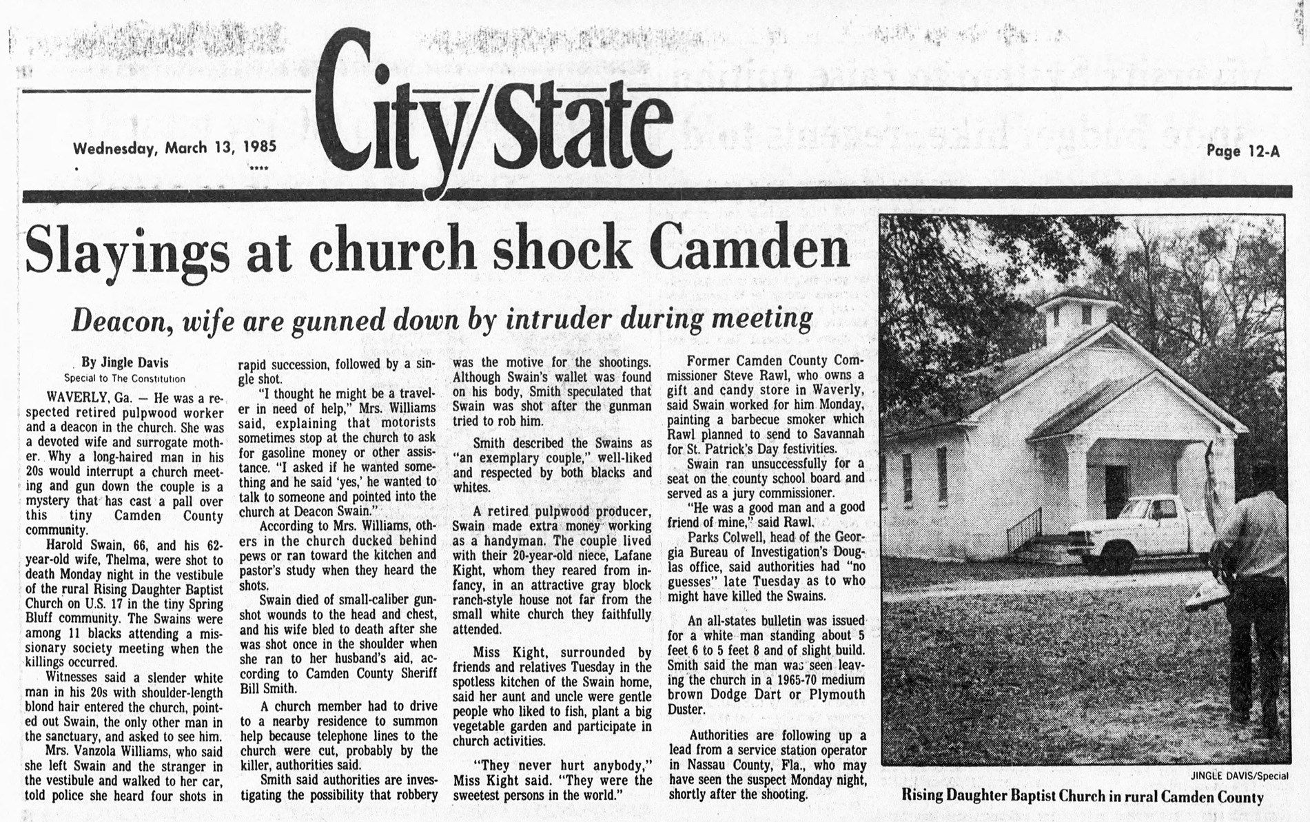 The Atlanta Constitution covered the murders in 1985.