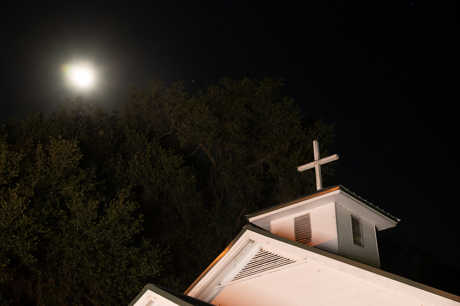 The church on a recent night.