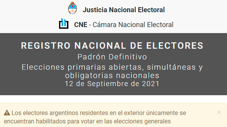 Dónde voto: hacé click acá para consultar el padrón electoral