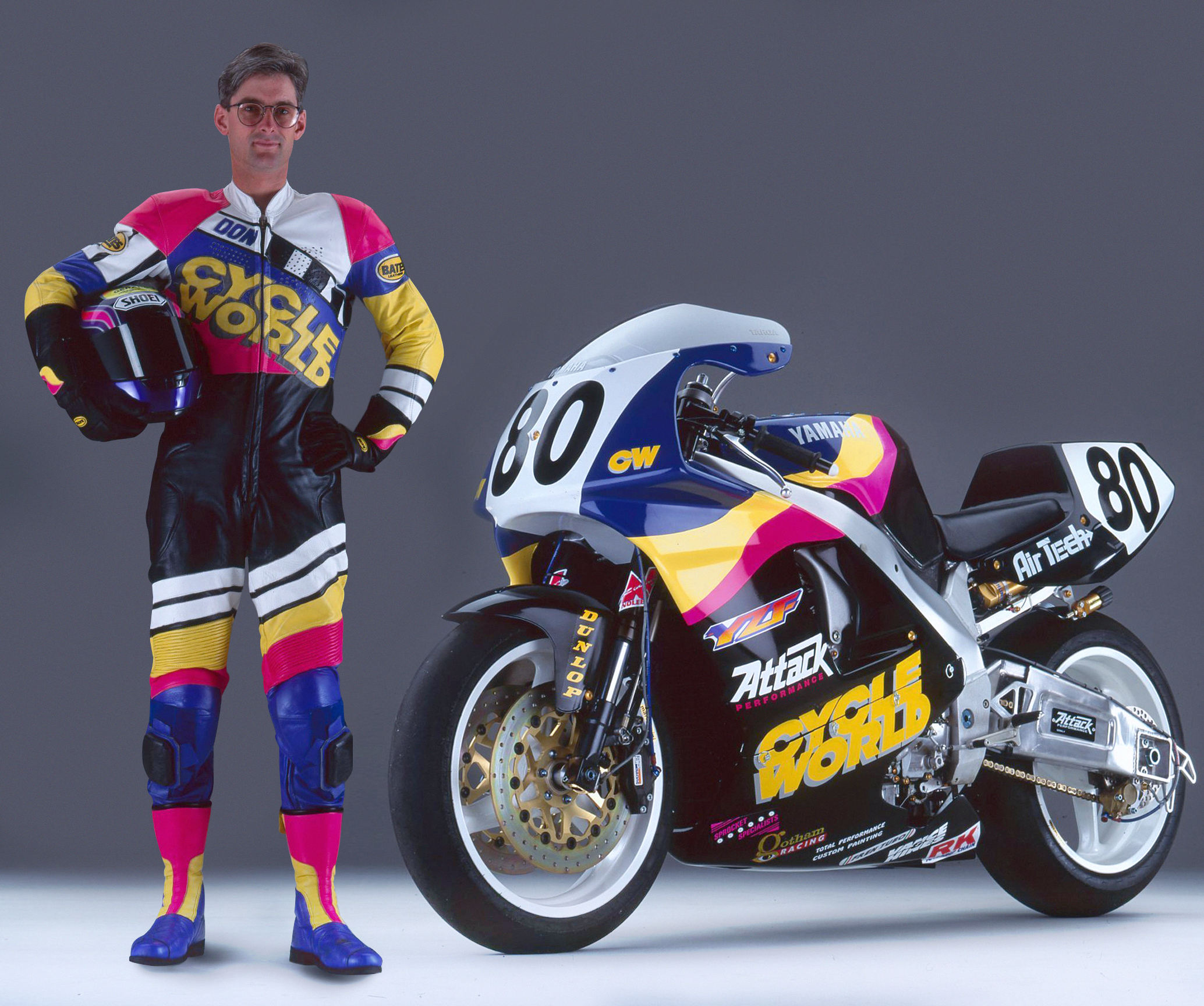 Cycle World's road test editor Don Canet had sick custom leathers to match his YZF750 racebike.