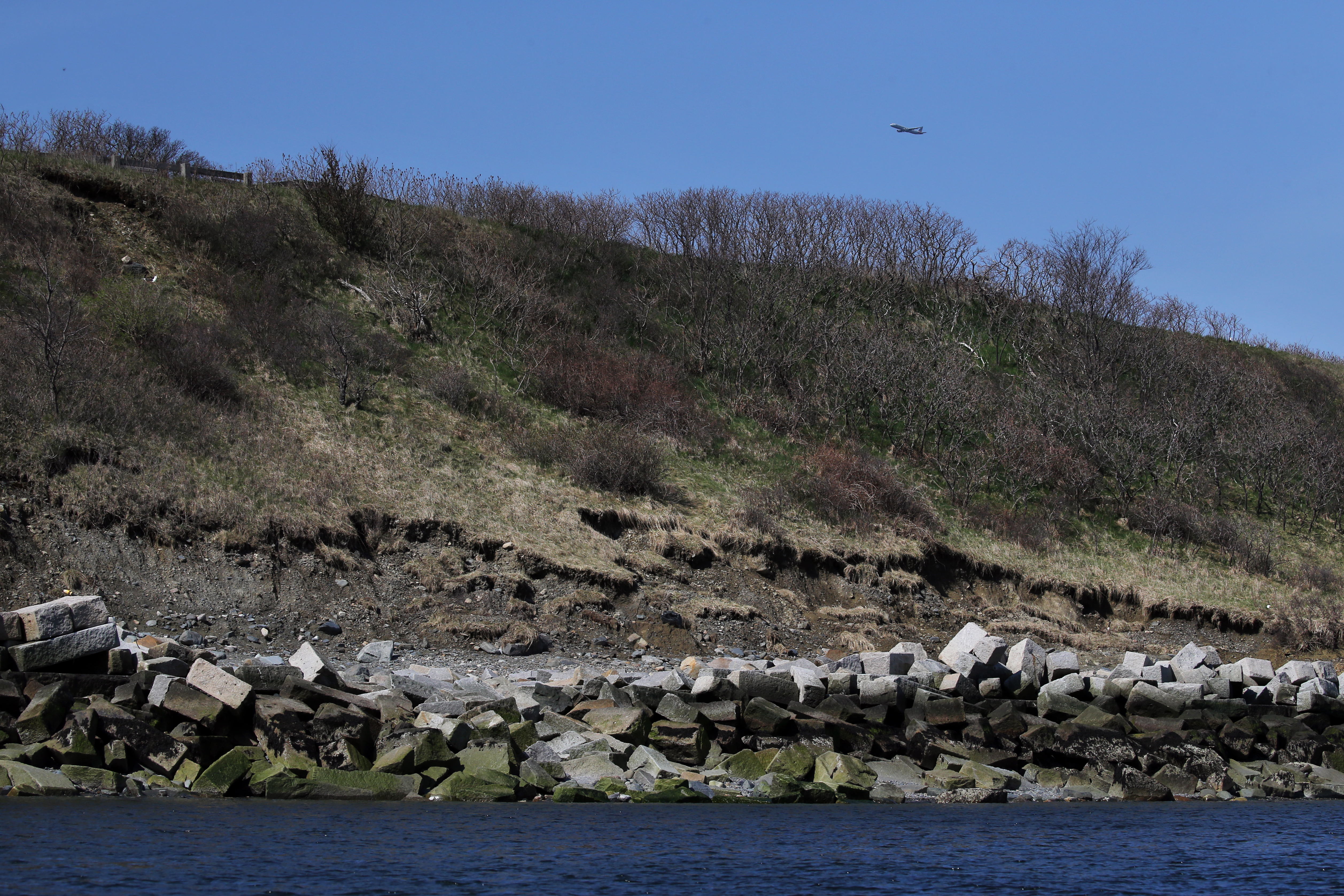 Damaged and eroded seawall on Gallop's Island in Boston Harbor.