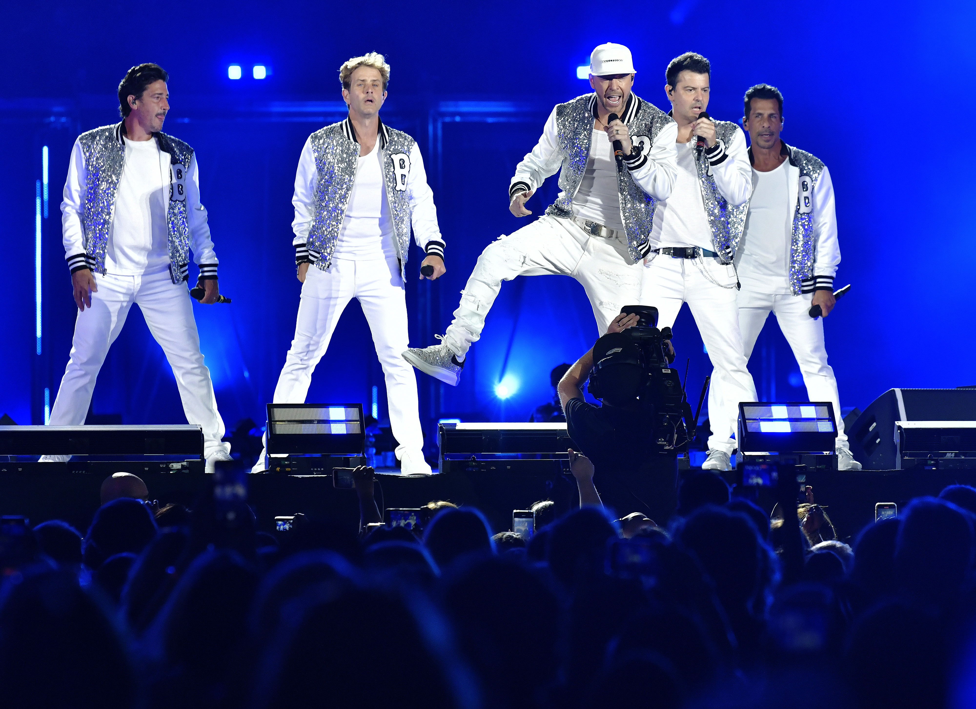 New Kids on the Block in concert at Fenway Park on August 6, 2021.