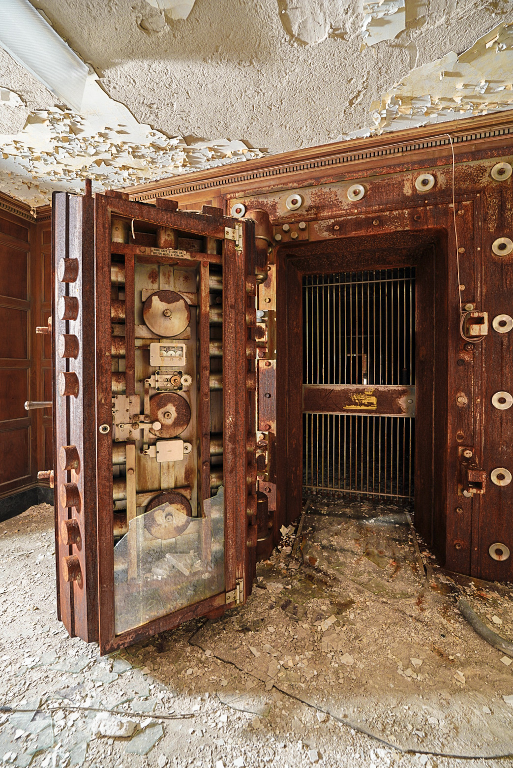 The vault in the basement of the Woonsocket Hospital Trust Bank. The building had transitioned to the former Rhode Island DMV until 2005. It's been empty since.