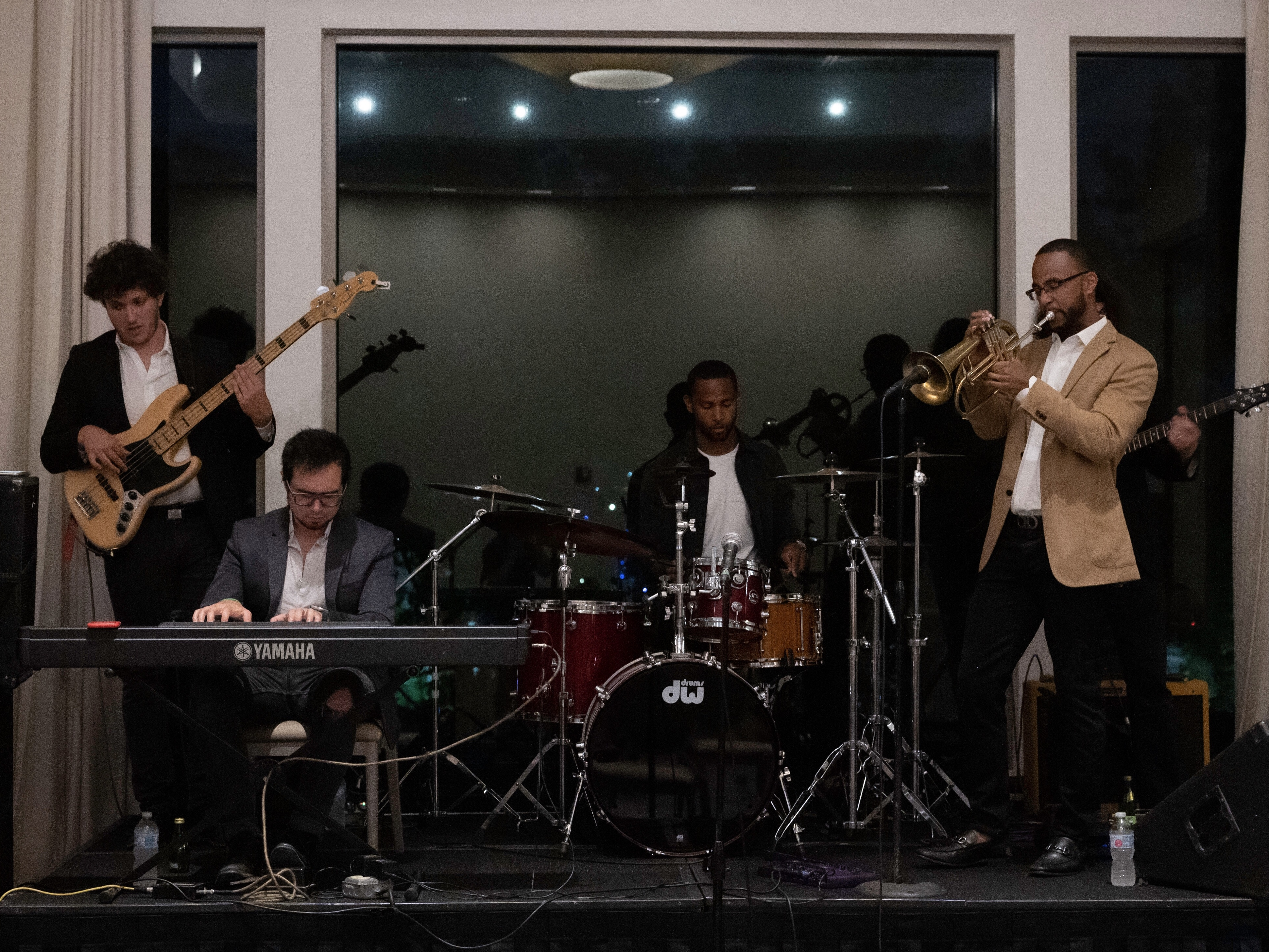 House of Bethel performs in Philadelphia. From left: Tim Khayat (bass), Jonathan Lovett (keyboard), Justin Bethel (drums), Gabriel Bethel (trumpet), Jonathan Knott (hidden, on guitar).
