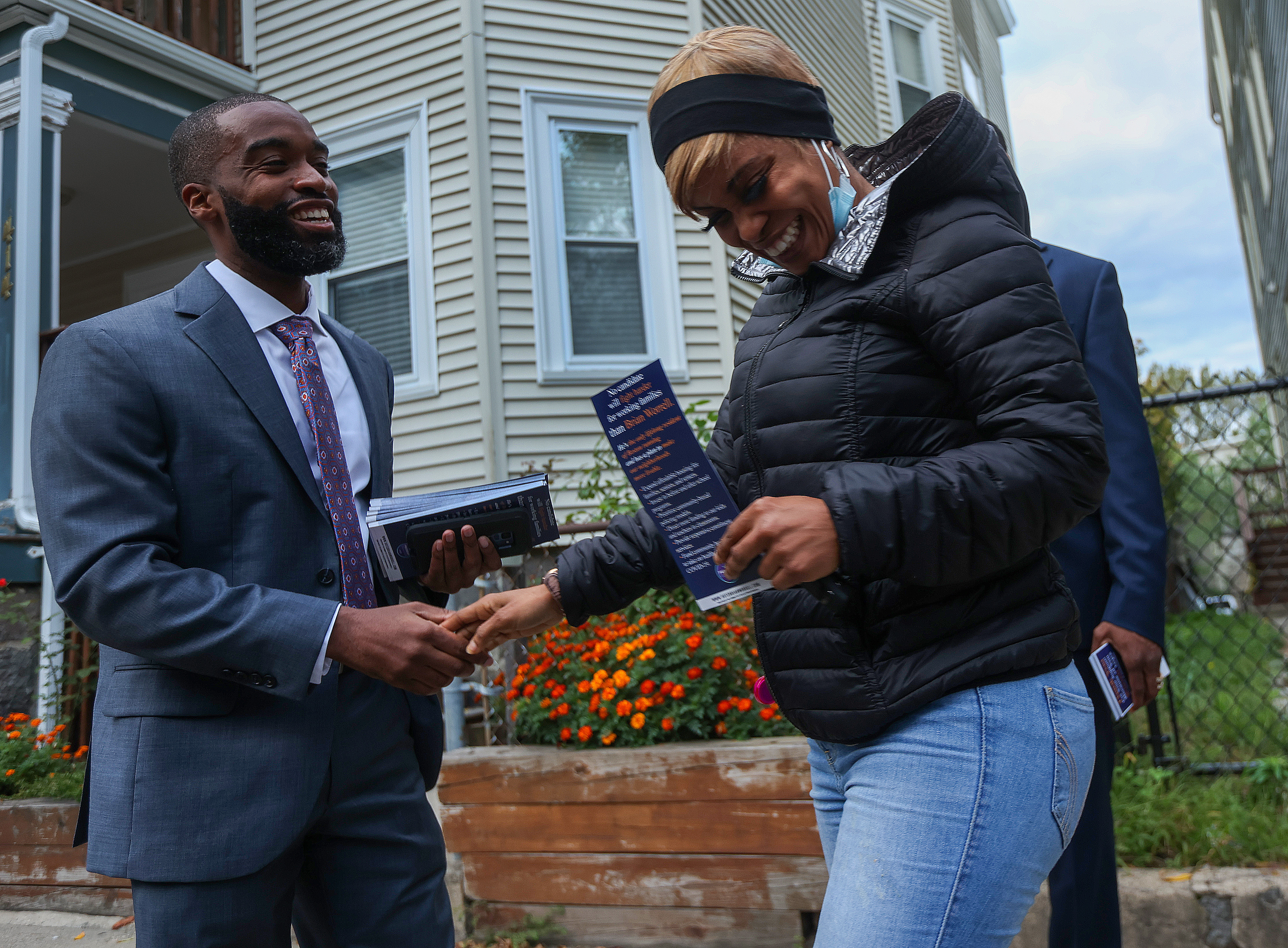 Brian Worrell spoke to Shirieny Pinnock during a canvassing.