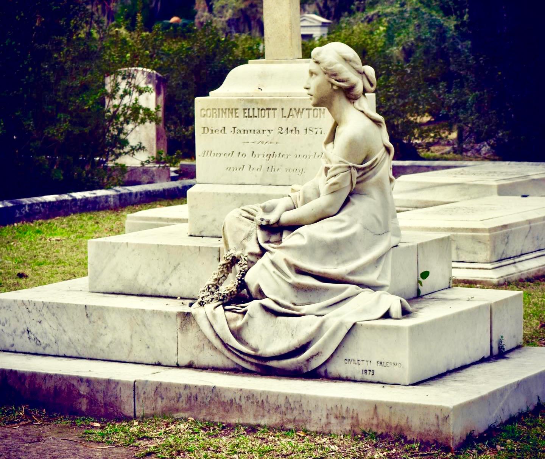 A tomb in the beautifully creepy Bonaventure Cemetery in Savannah, Ga.