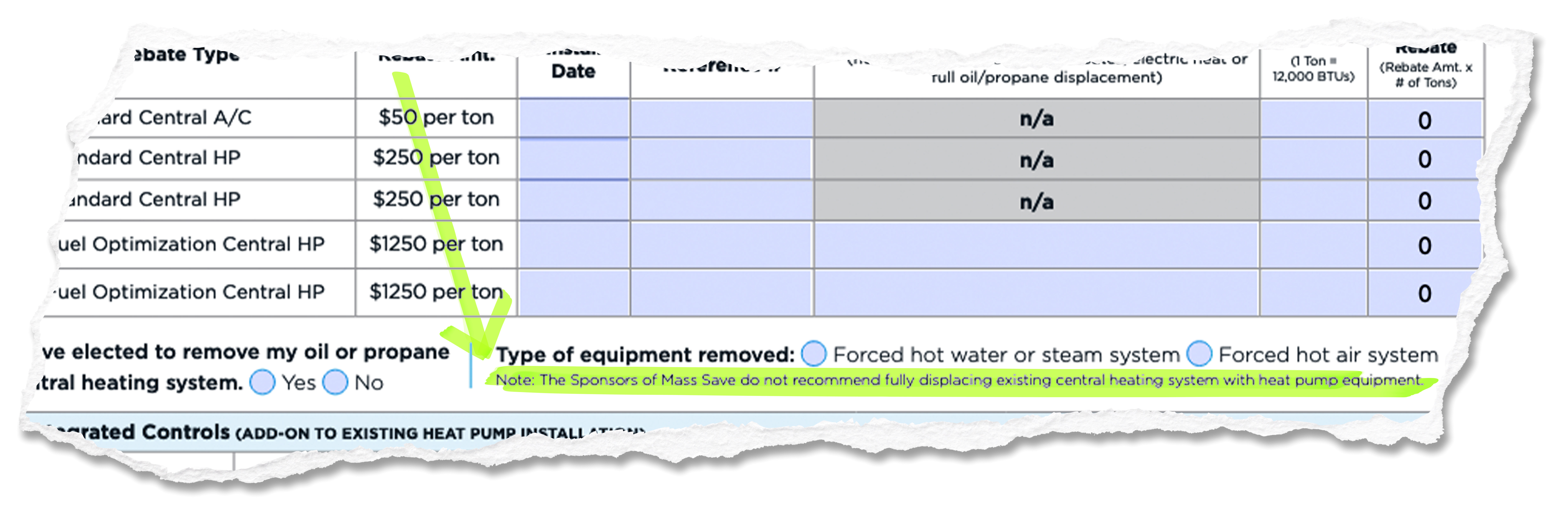 Highlighted area from the 2021 residential central A/C & central heat pump rebate form.