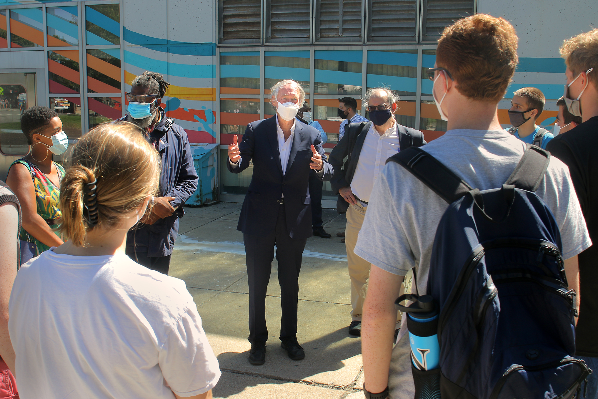 Boston, MA - 09/07/21 -  Senator Ed Markey, along with transportation and environment activists, advocated at a press conference outside Ruggles MBTA station on the Orange Line for more and faster spending on climate resiliency for infrastructure.