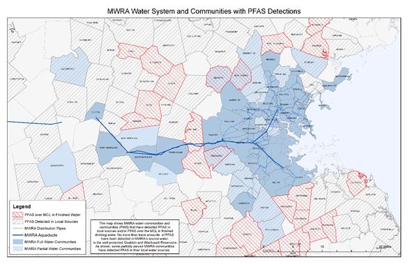 MWRA water systems and communities with PFAS