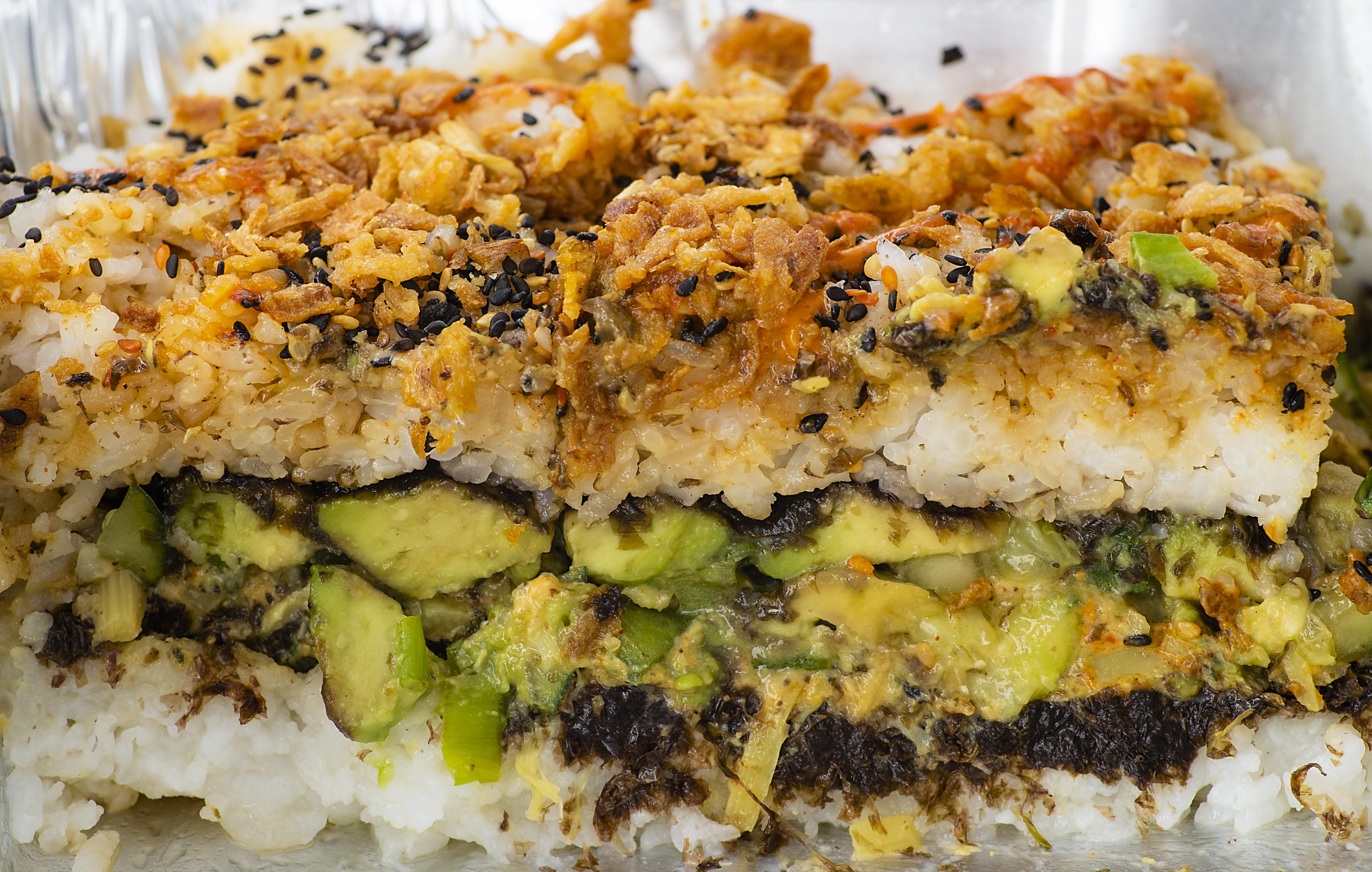 Deconstructed Vegshi, Viviana Torres's vegan interpretation of sushi, awaits diners at a vegan food market in Dover, N.H., on Sunday.