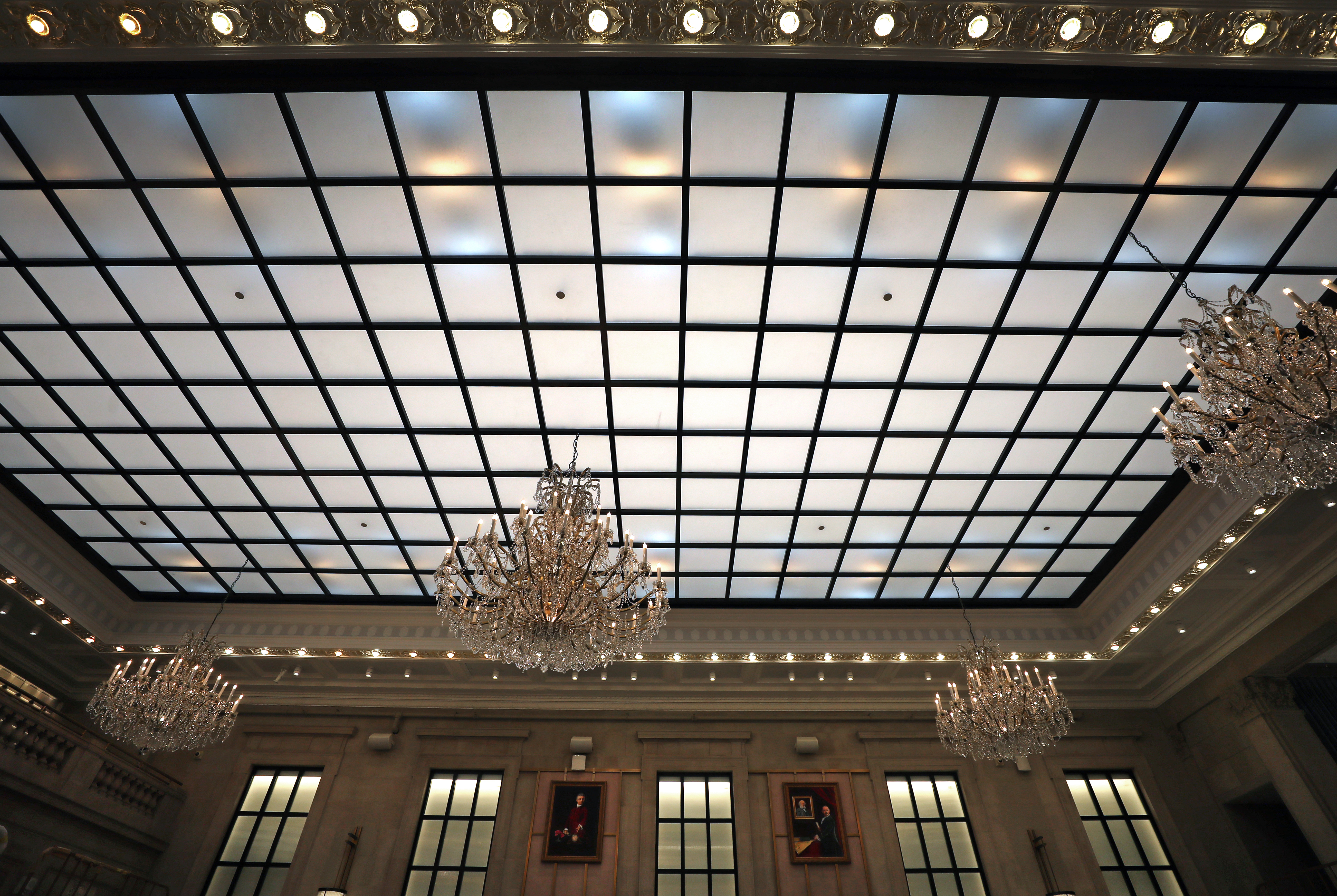 A view of the glass ceiling in the restaurant at the Langham.