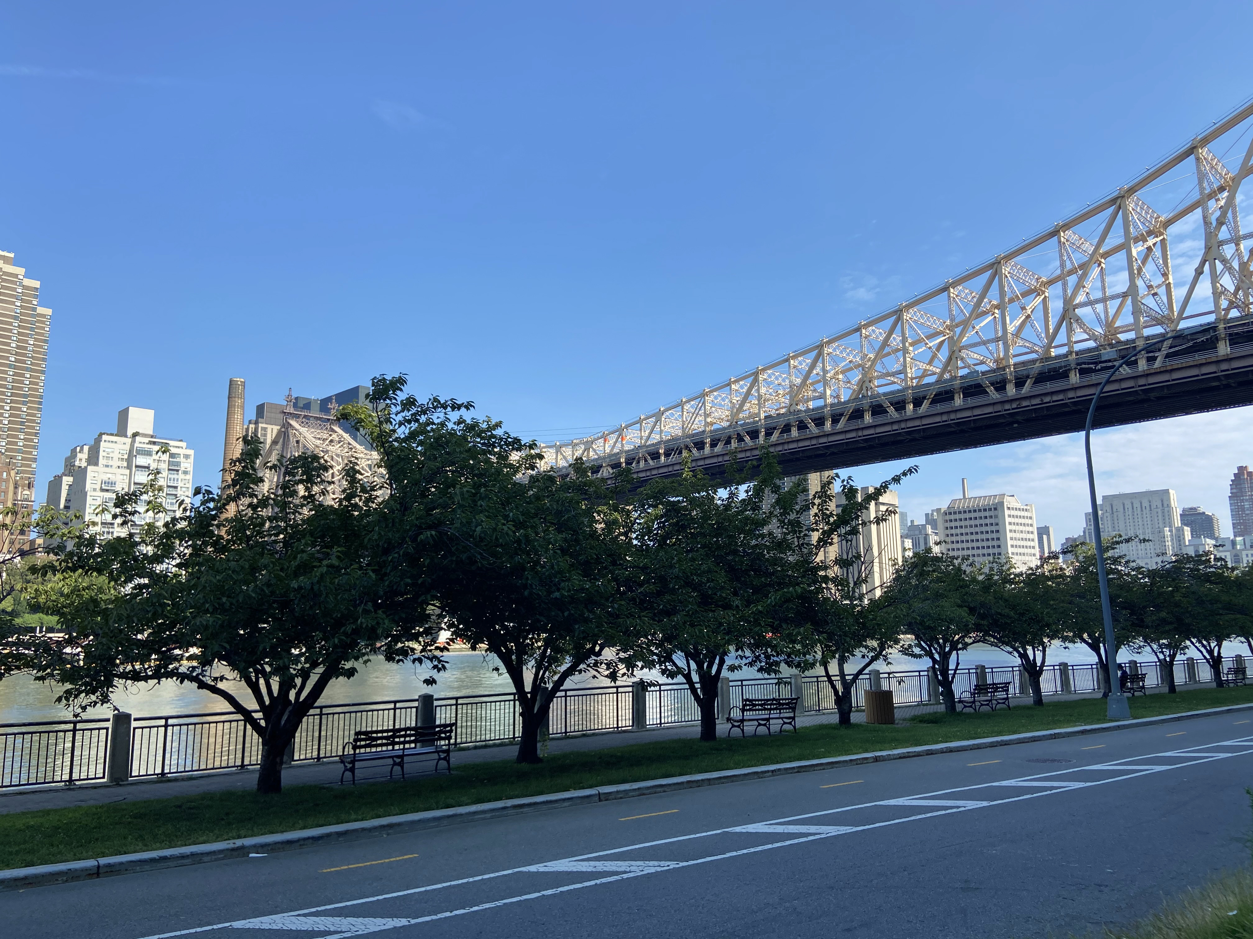 Should you feel the need to get out and walk around, the footbridge along the East River is a comfortable option.