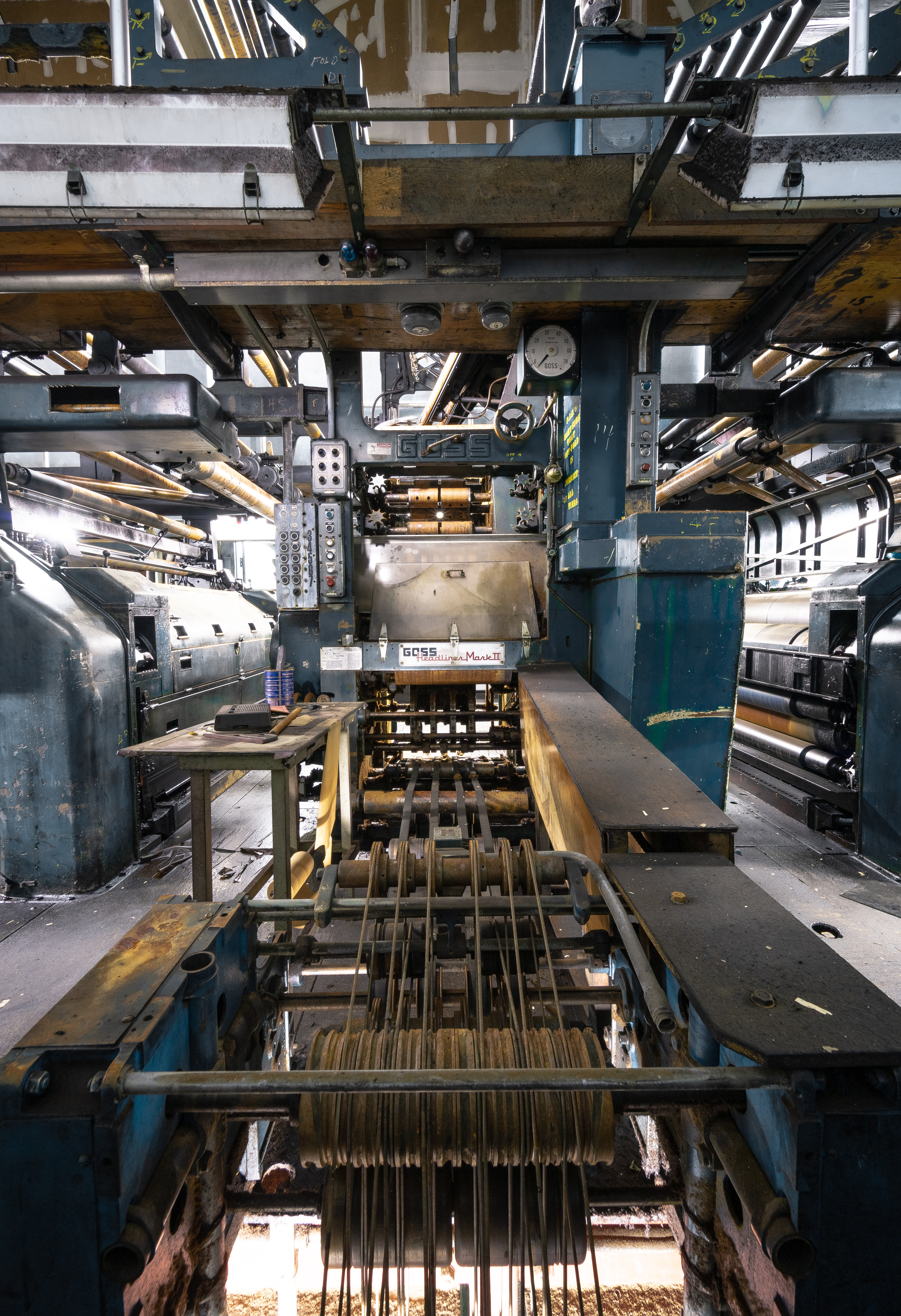Retired ink presses that once printed the Pawtucket Times newspaper.