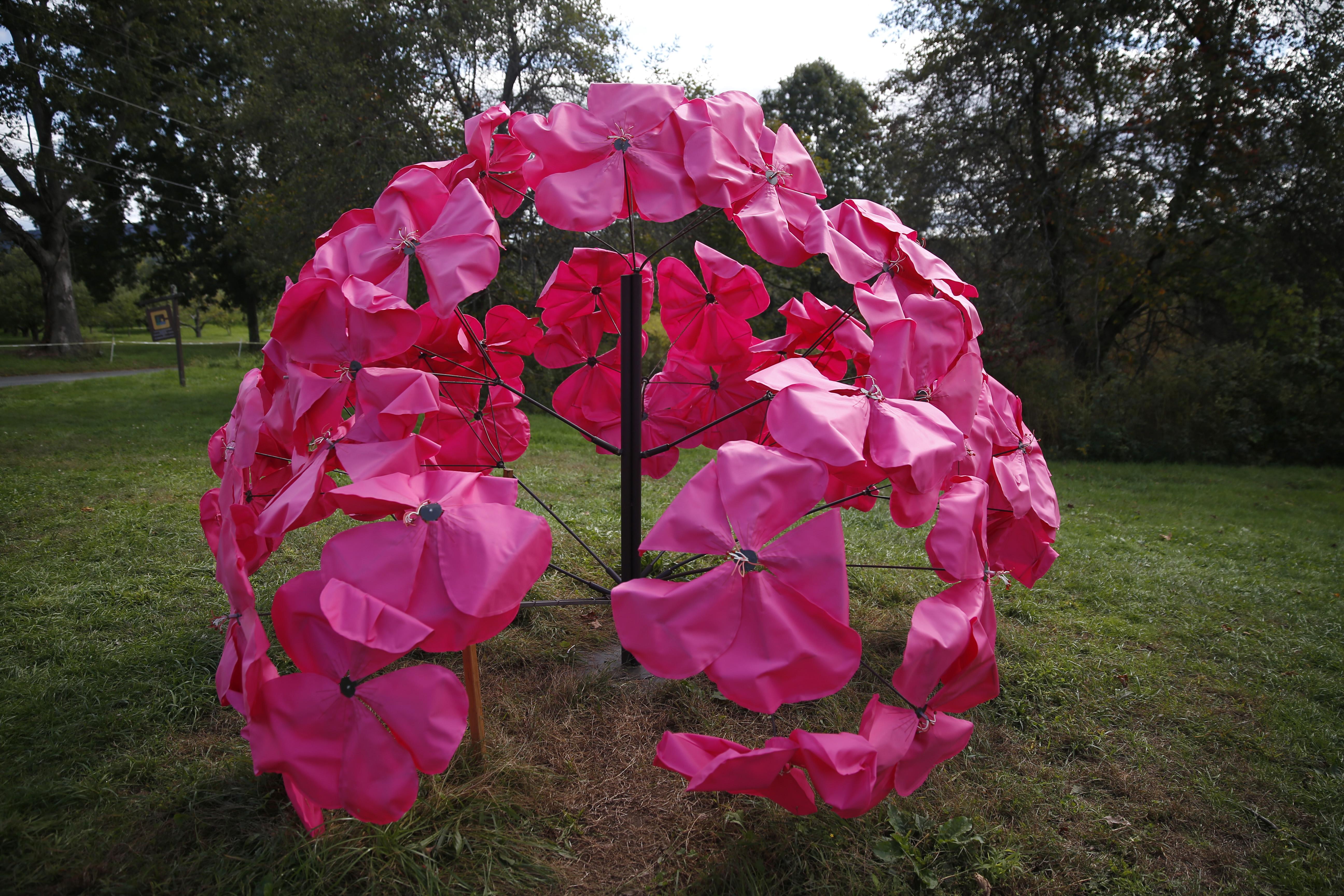 "Daina shobrys ""Geranium"" To ""Art in the Orchard 2021"" sculpture trail."