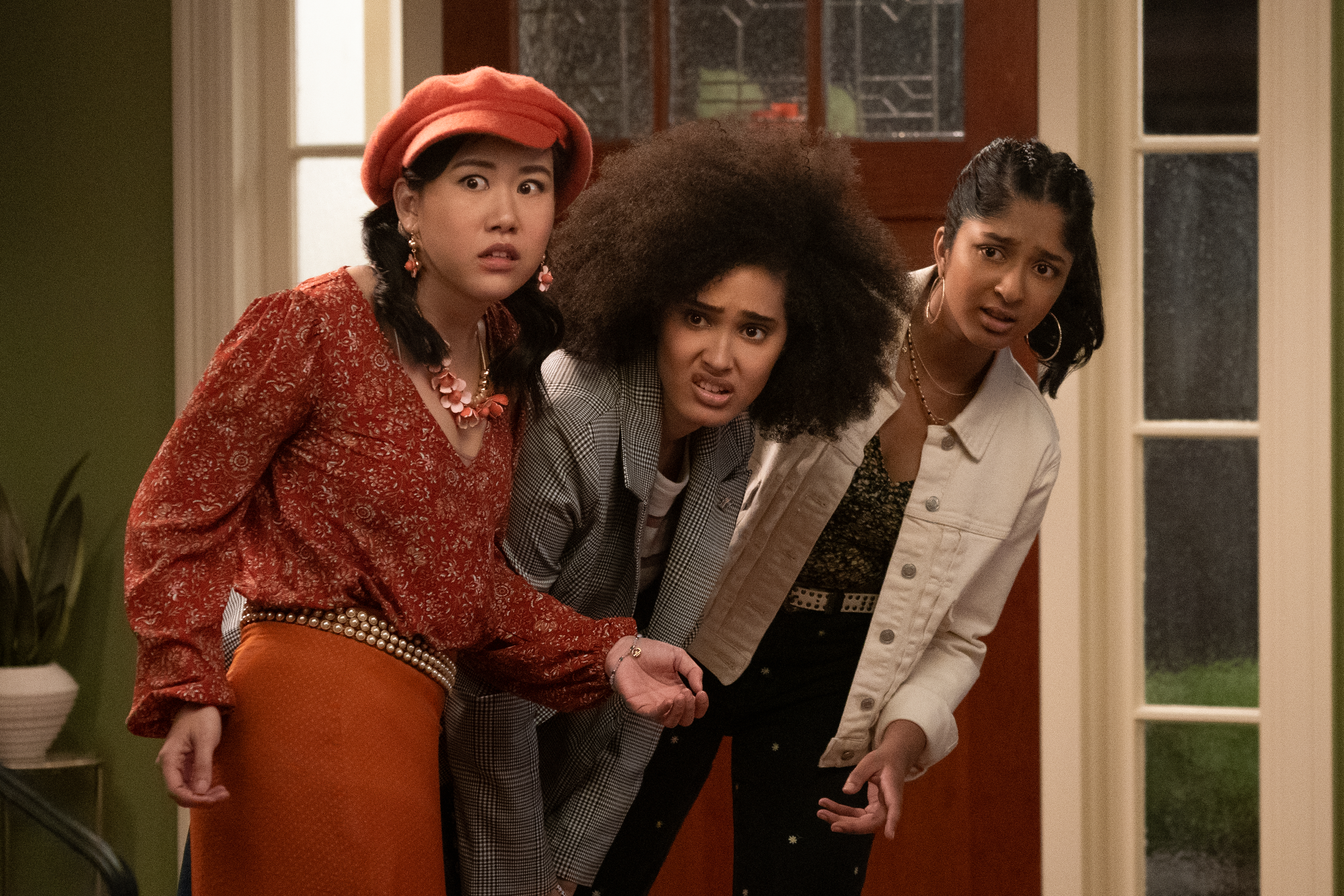 "From left: Ramona Young, Lee Rodriguez, and Maitreyi Ramakrishnan in Mindy Kaling's ""Never Have I Ever"" on Netflix."