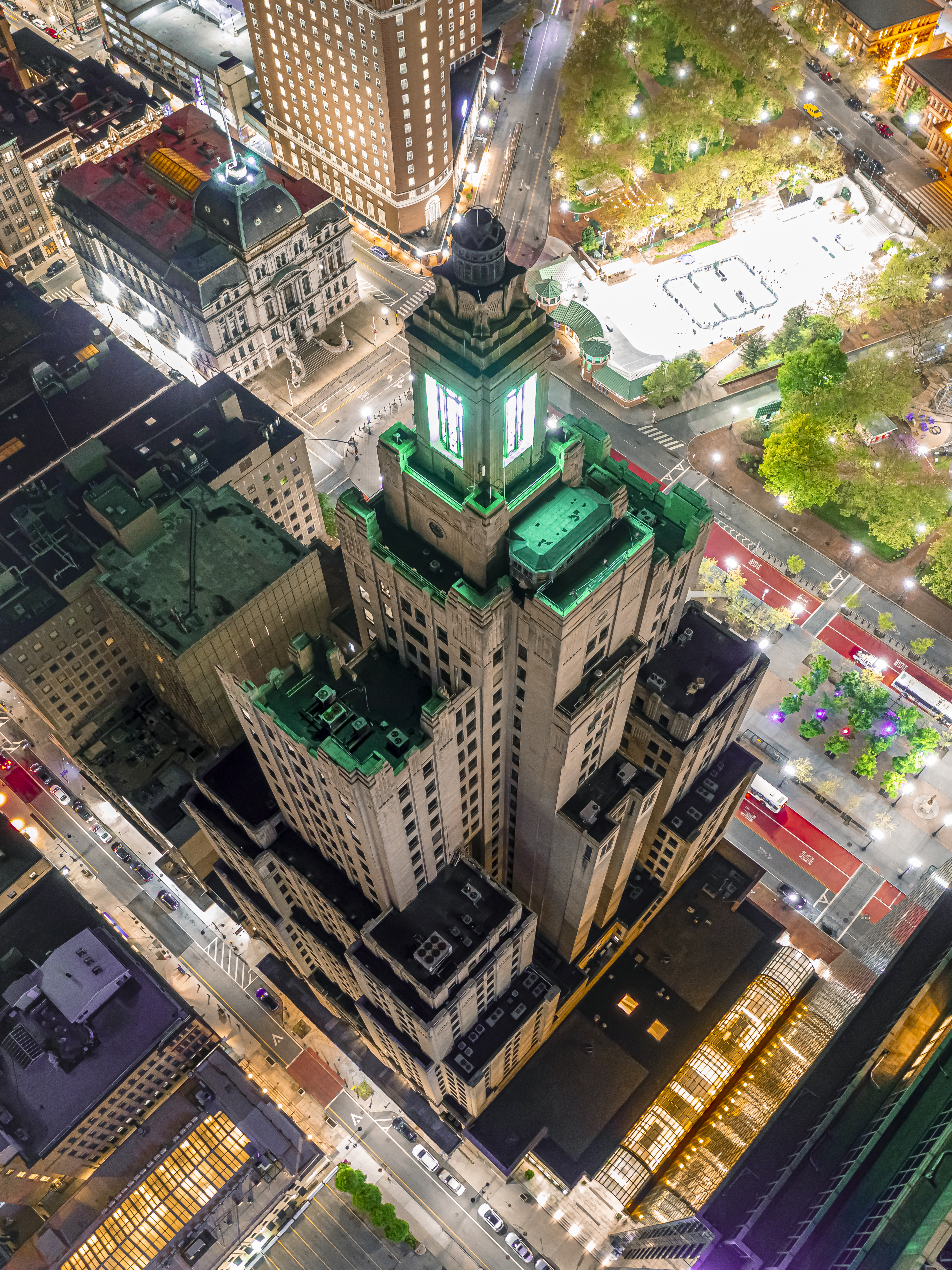 """A drone's long exposure panoramic of the """"Superman"""" building in downtown Providence."""
