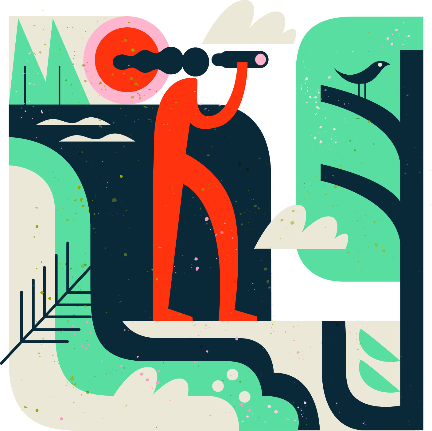 Spot illustration for nature travel. Image of person looking at birds through binoculars.