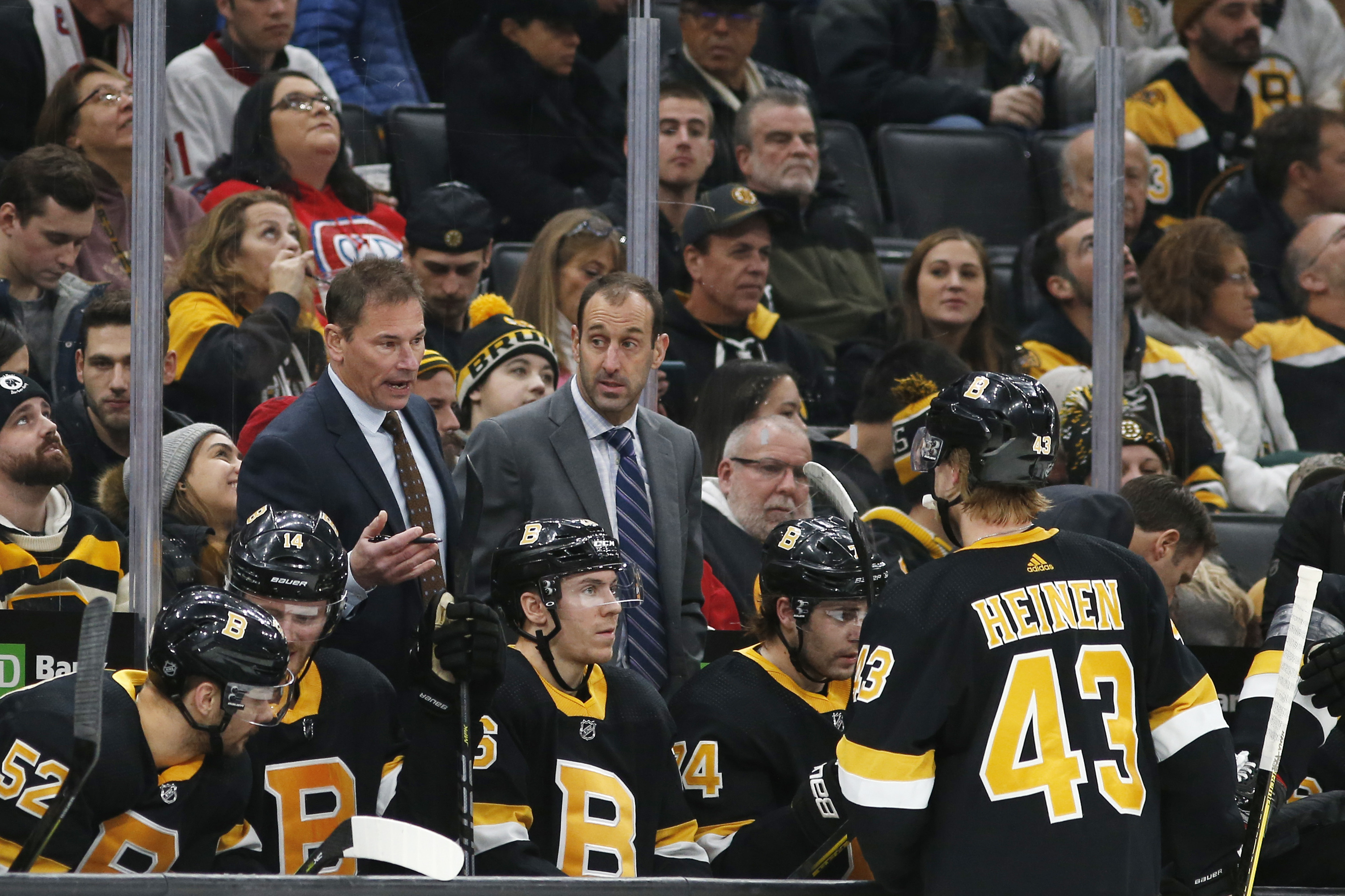 Bruce Cassidy (left) has been promoting from within, with assistant coach Jay Pandolfo (center) leaving for Boston University.