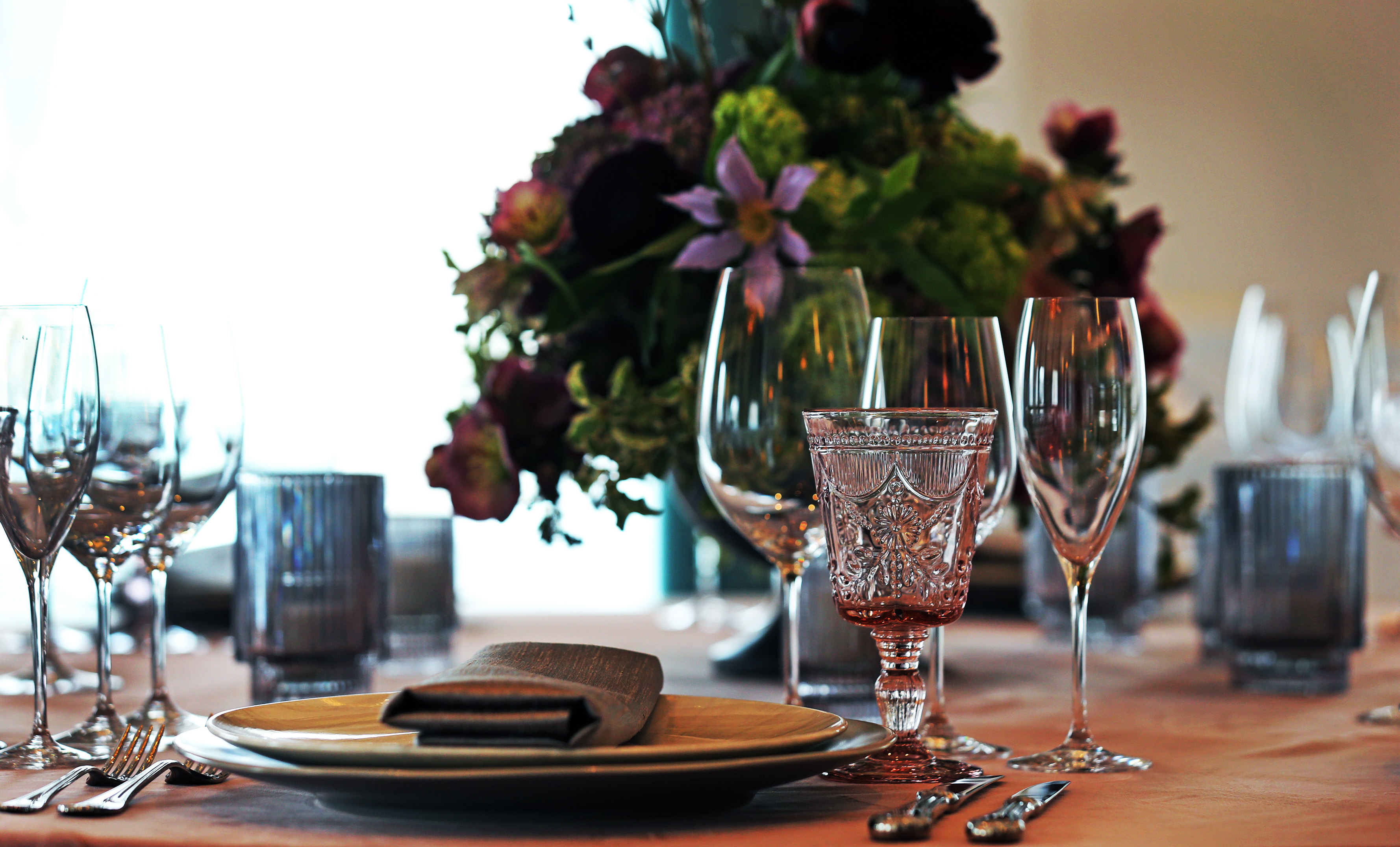 A place setting in the Assembly Room.