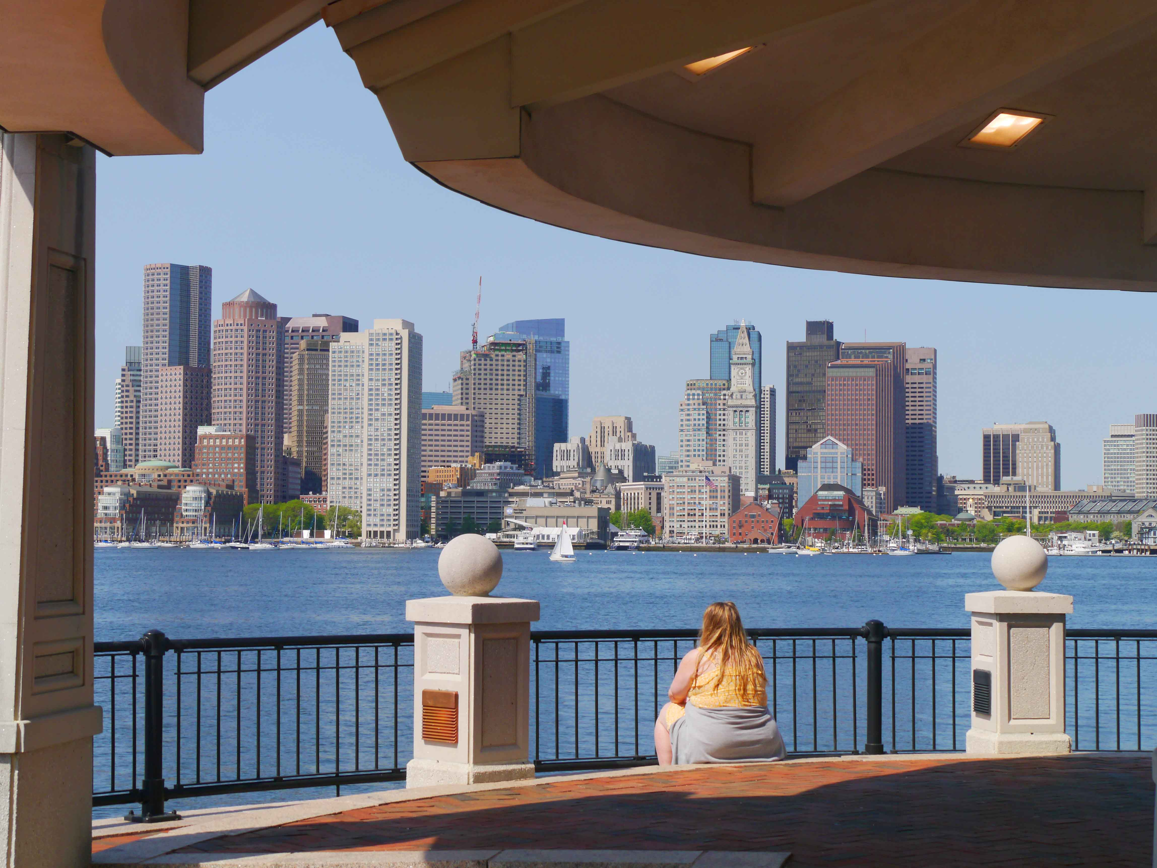 The lodge at the tip of Piers Park offers splendid views of the downtown Boston waterfront.