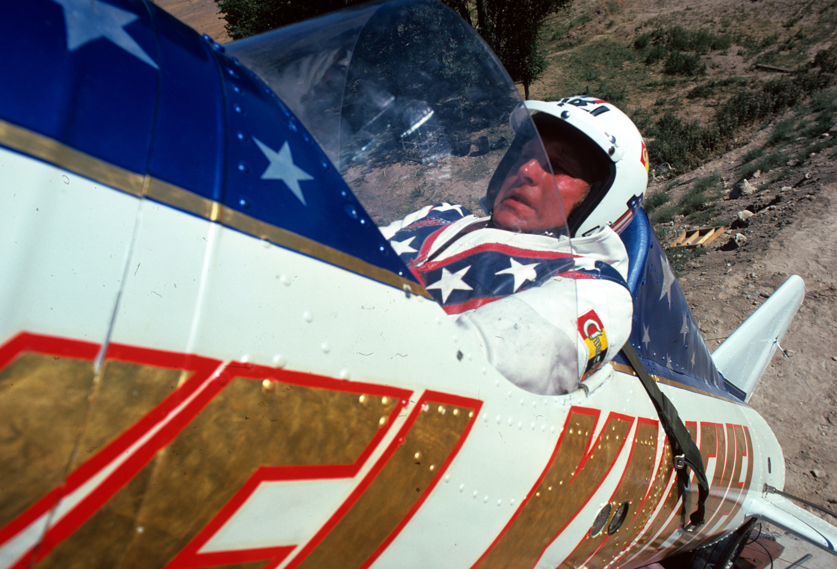 Evel Knievel prepares to launch at Snake River Canyon in 1974.