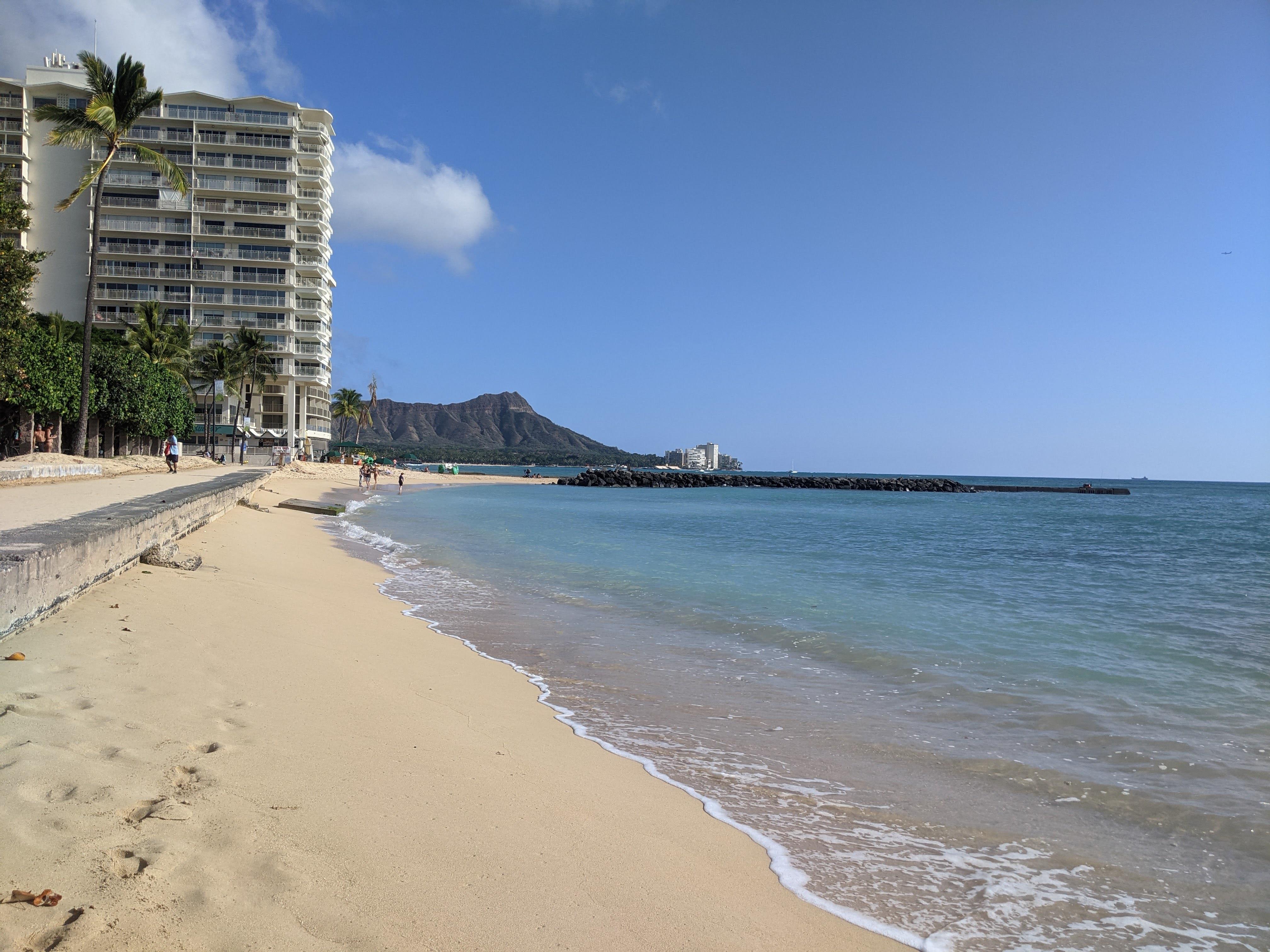 The beaches in Honolulu weren't crowded in January.