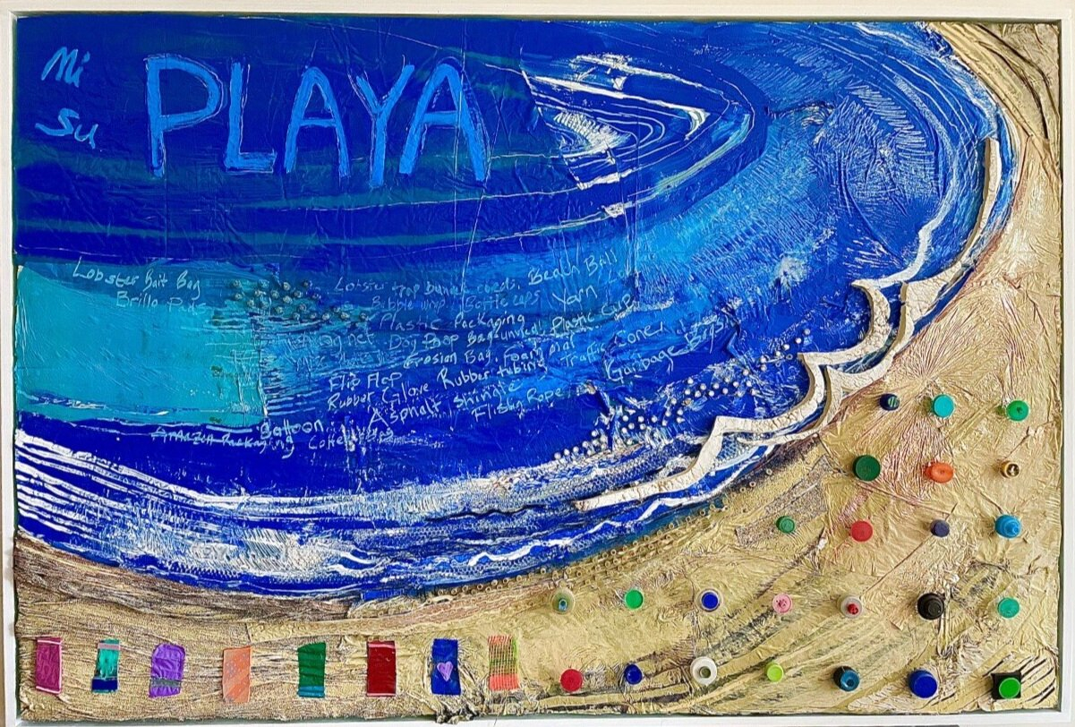 """In """"mi playa su playa,"""" Ranney wanted to promote a sense of ocean stewardship, using salvaged plastic bags, multi-colored bottle caps, and rubber tubes to make a shoreline."""
