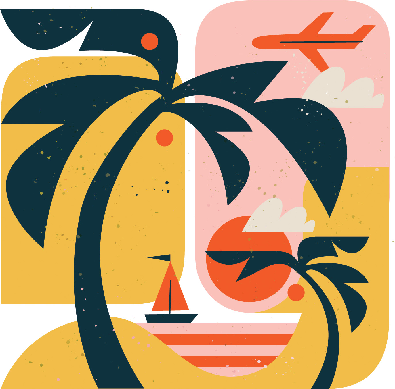 Spot illustration. Image of a sailboat seen from a beach with palm trees.