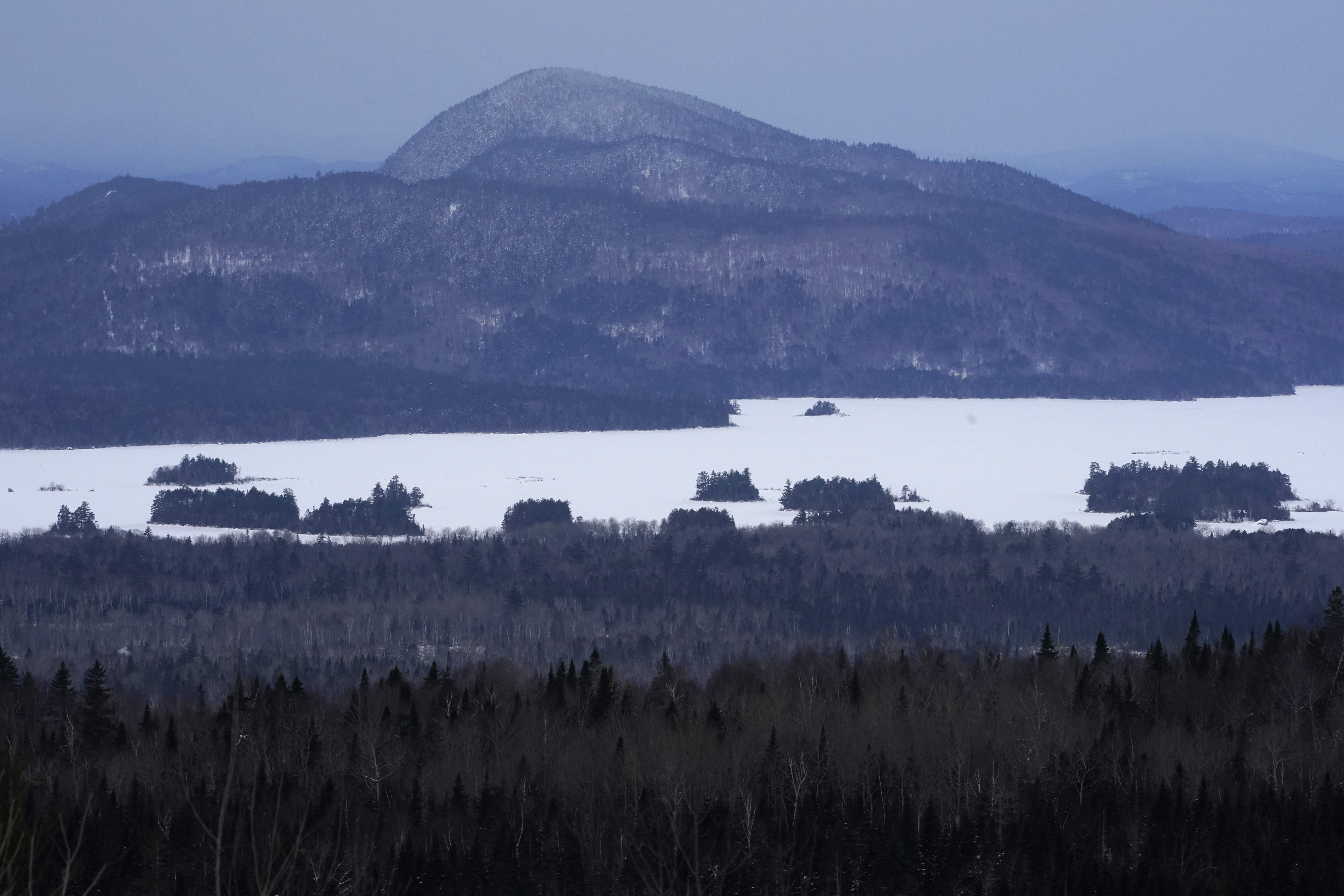 Land in the vicinity of Central Maine Power's controversial hydropower transmission corridor is seen last month, north of The Forks, Maine.