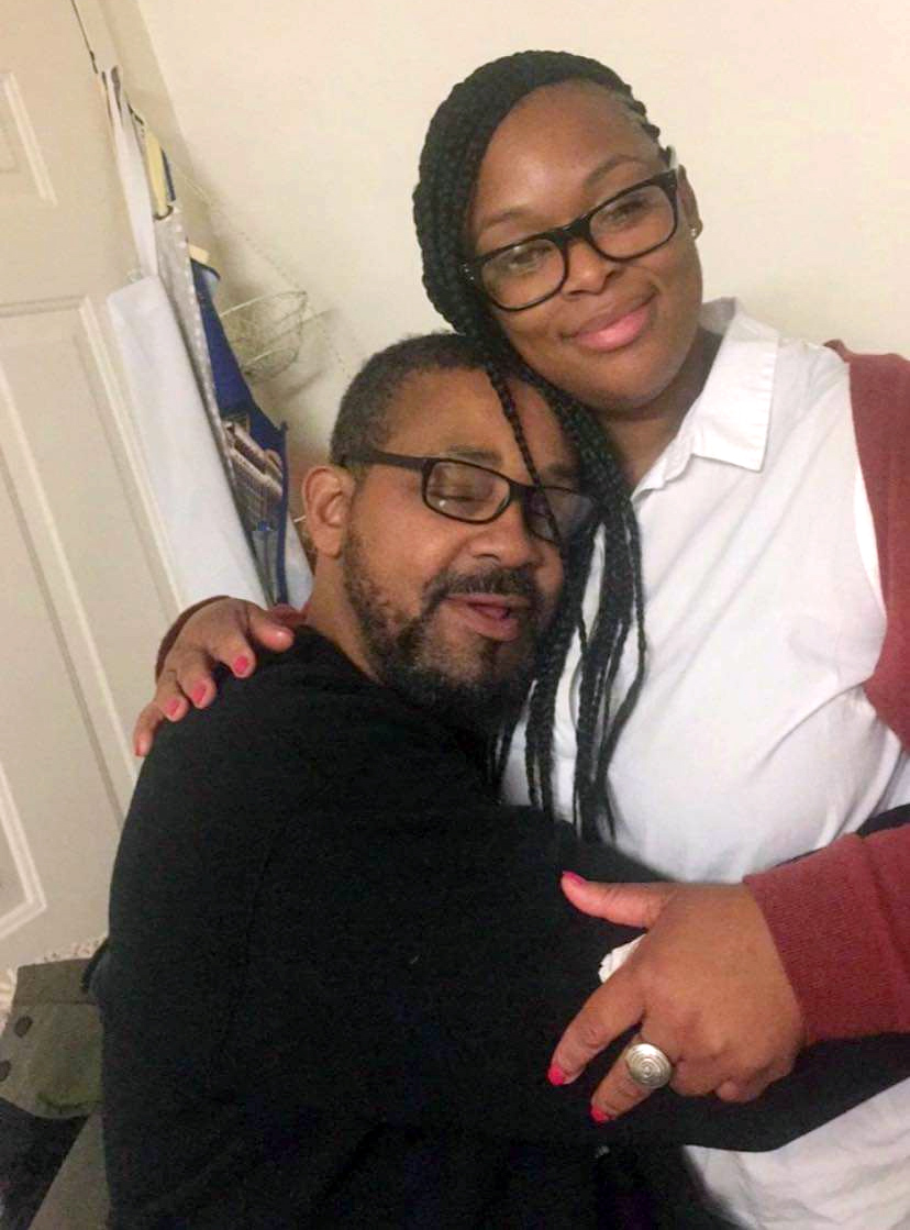 Ayesha Johnson, with her father, Reginald White, in 2020.