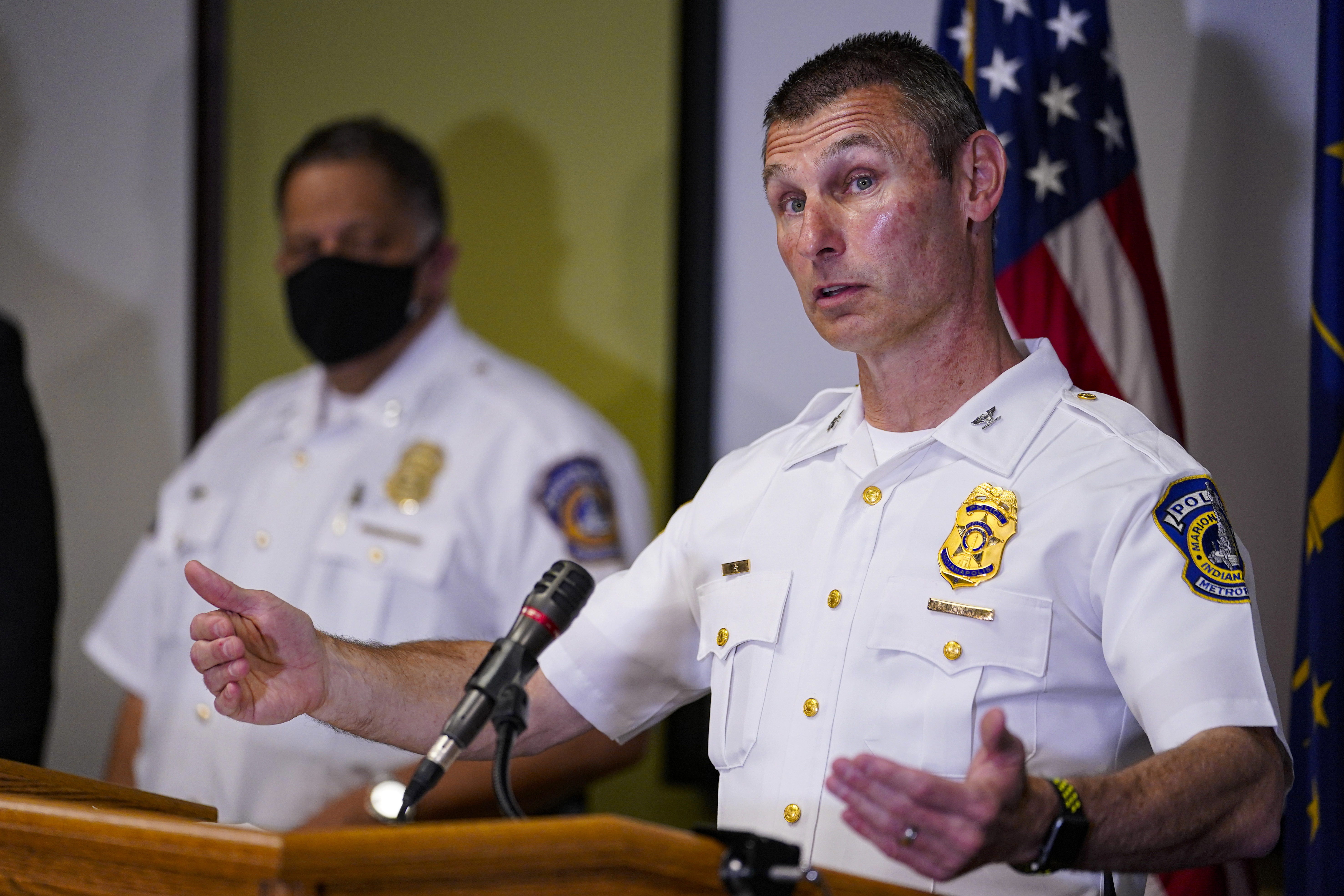 Indianapolis Metropolitan Police Department Deputy Chief Craig McCartt speaks at a press conference about the shooting at a FedEx facility in Indianapolis on Friday, April 16, 2021.