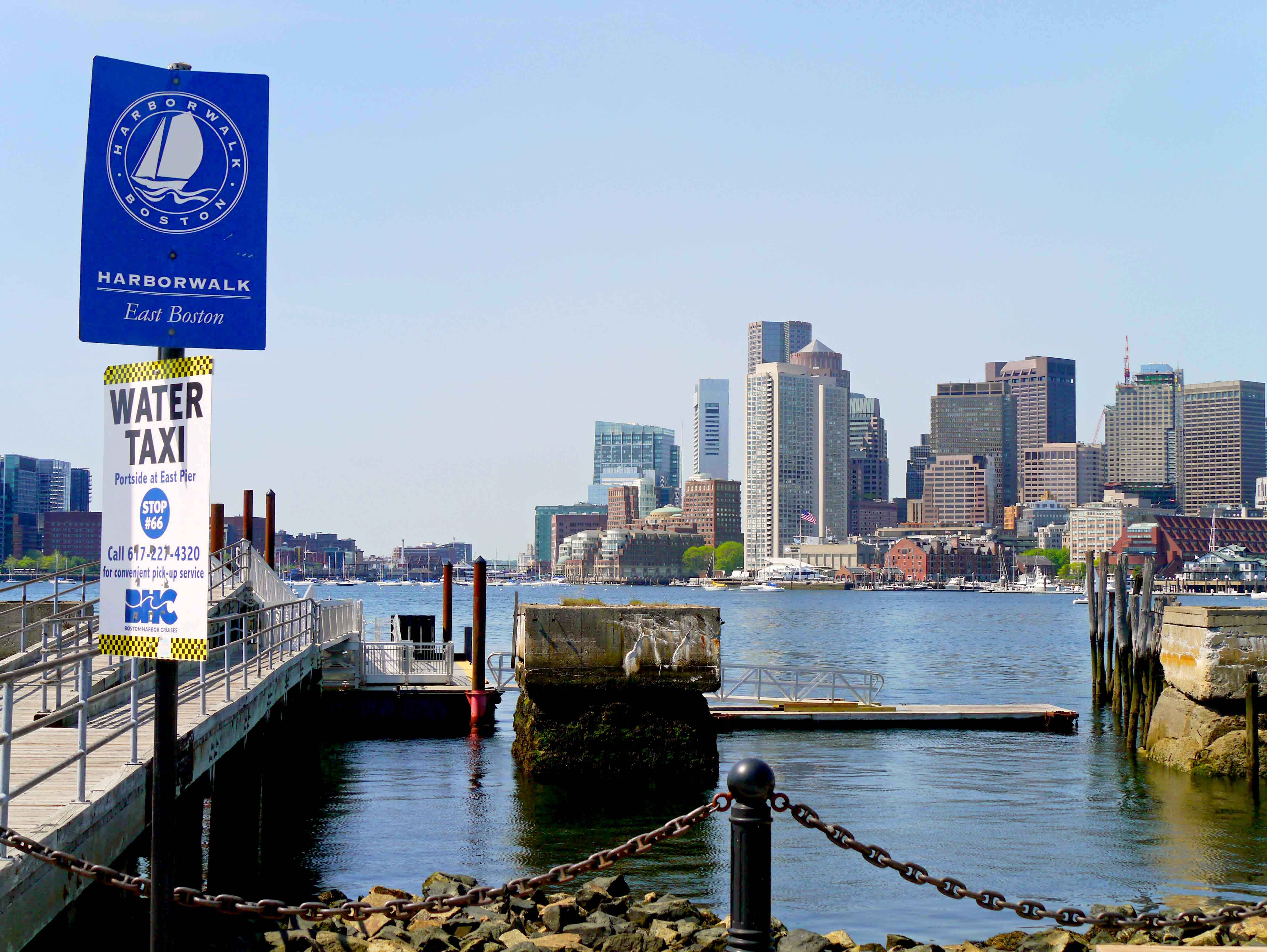There are numerous water taxi stops along the East Boston Harborwalk.