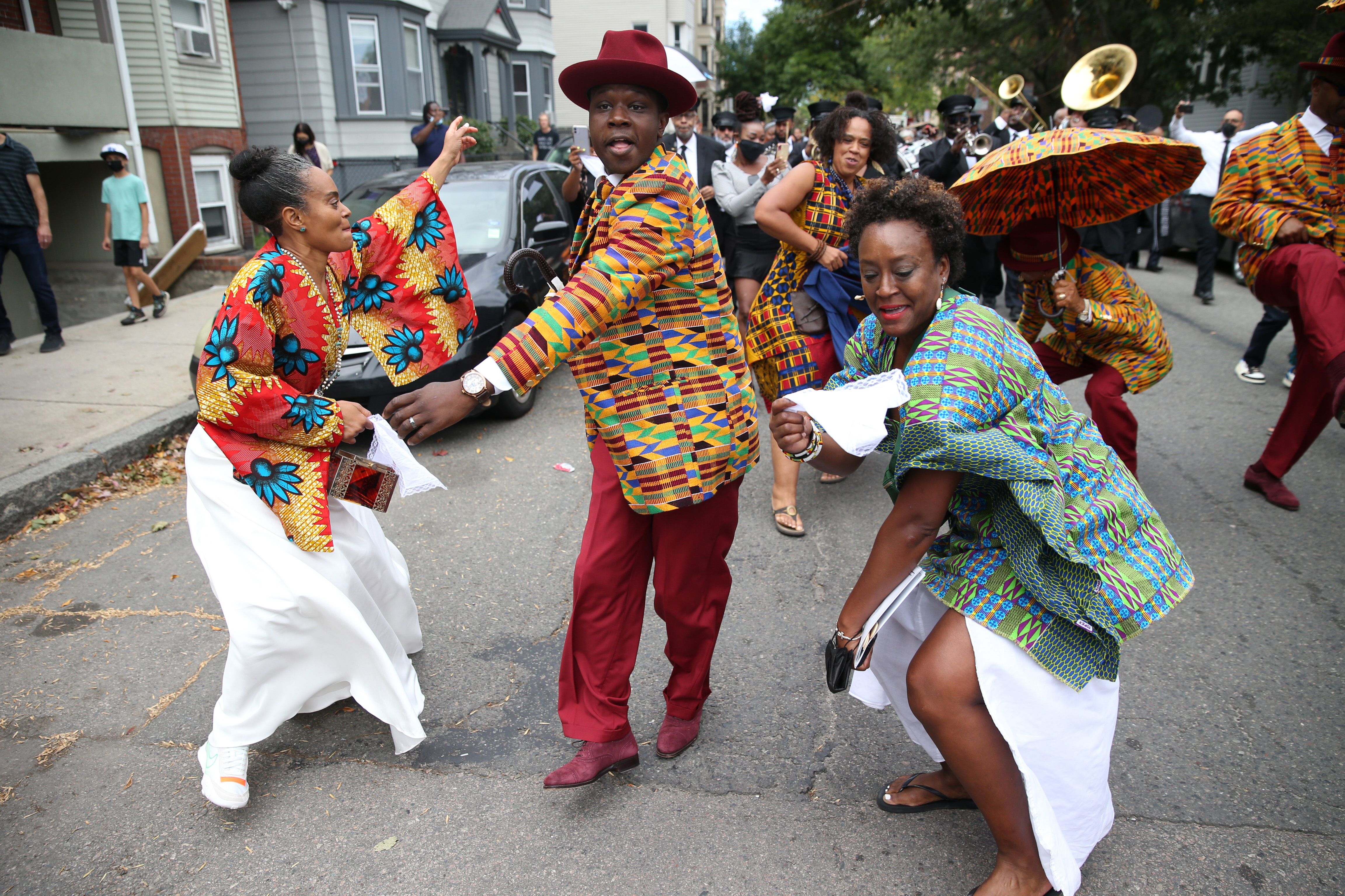 The memorial service was followed by a funeral procession in New Orleans ending in Starlight Square, and members of the New Orleans Black Men of Labor danced with others in procession.  (Jonathan Wiggs / Stick of the Globe)