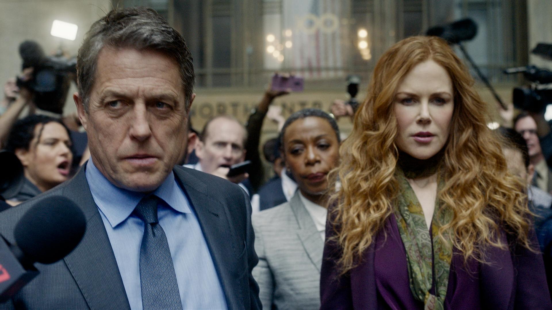 "Hugh Grant, Noma Dumezweni, and Nicole Kidman in the HBO series ""The Undoing."""