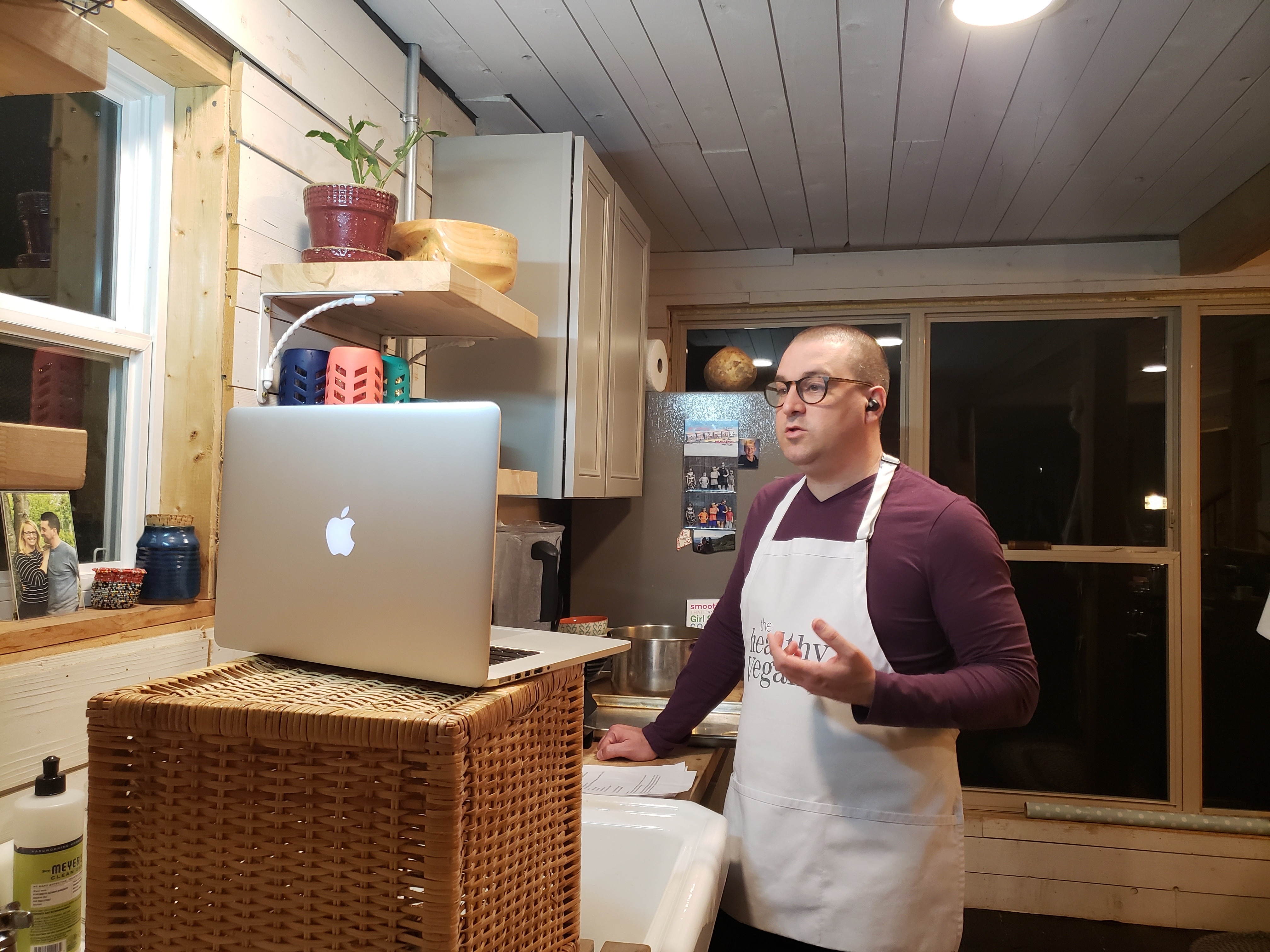 Colin McCullough taught patrons of the Sutton Public Library how to make vegan soups recently. McCullough, a former Millbury resident now living in Maine, used to bring all his cooking utensils to libraries around Massachusetts for in-person classes. He has now adapted to virtual classes from his home kitchen.
