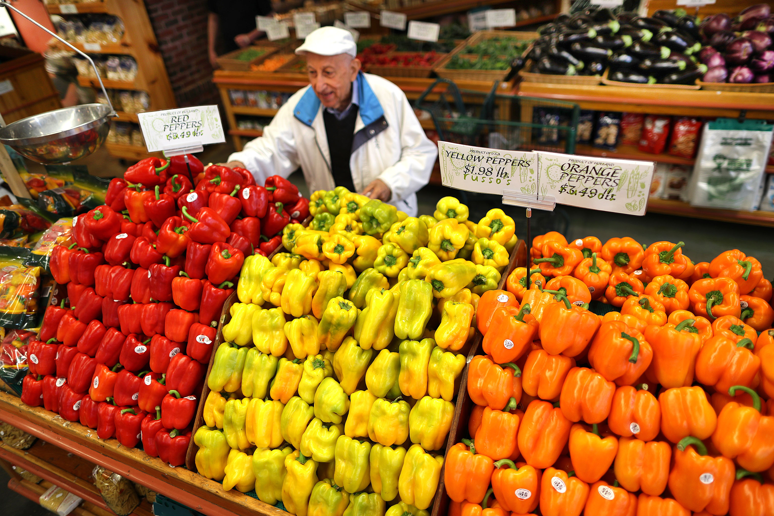 Customer Ara Chamlian from Watertown picked some peppers at Russo's in 2019.
