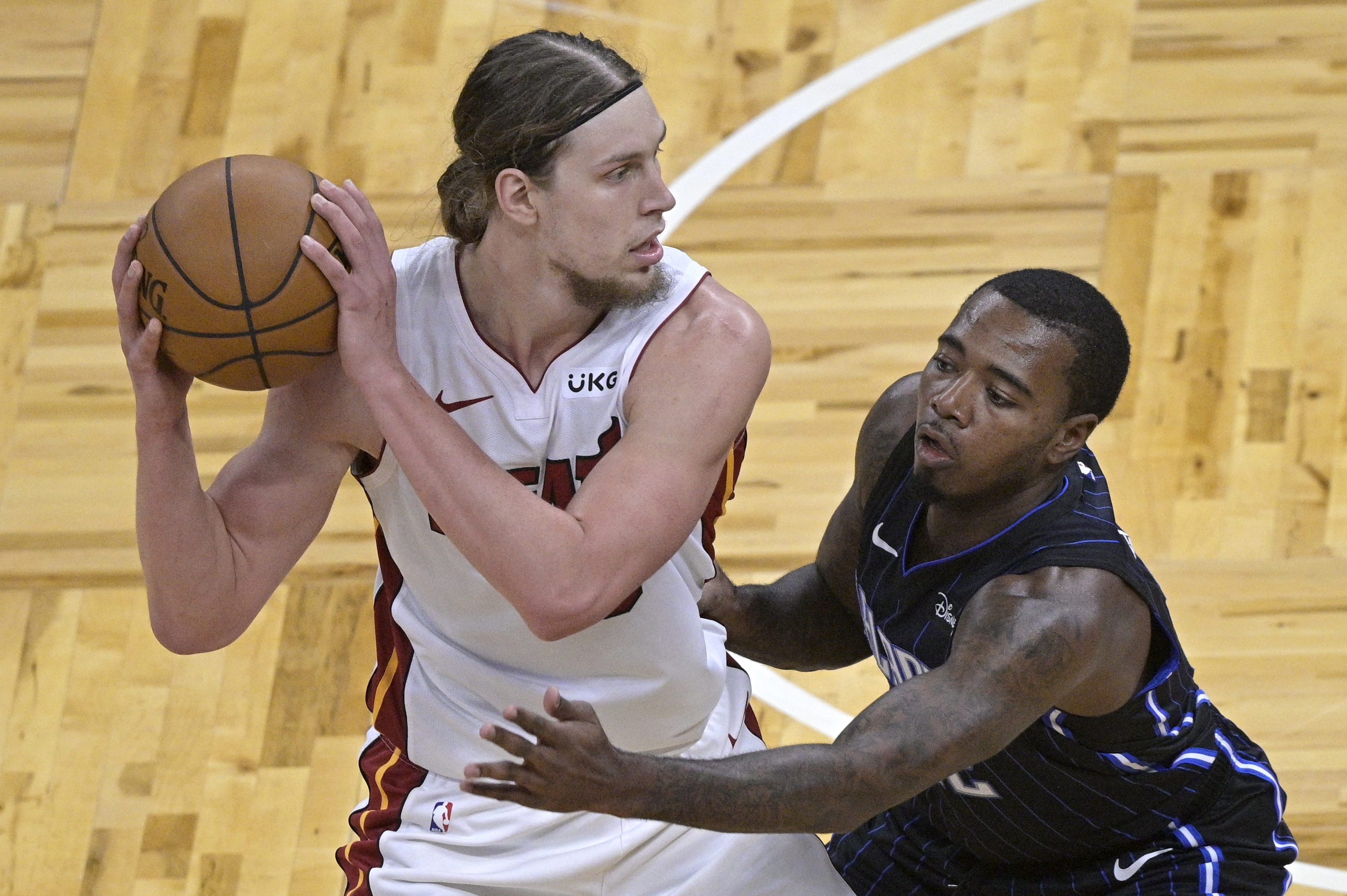Former Celtic Kelly Olynyk is averaging 10 points and 6.1 rebounds per game for the Heat this season.