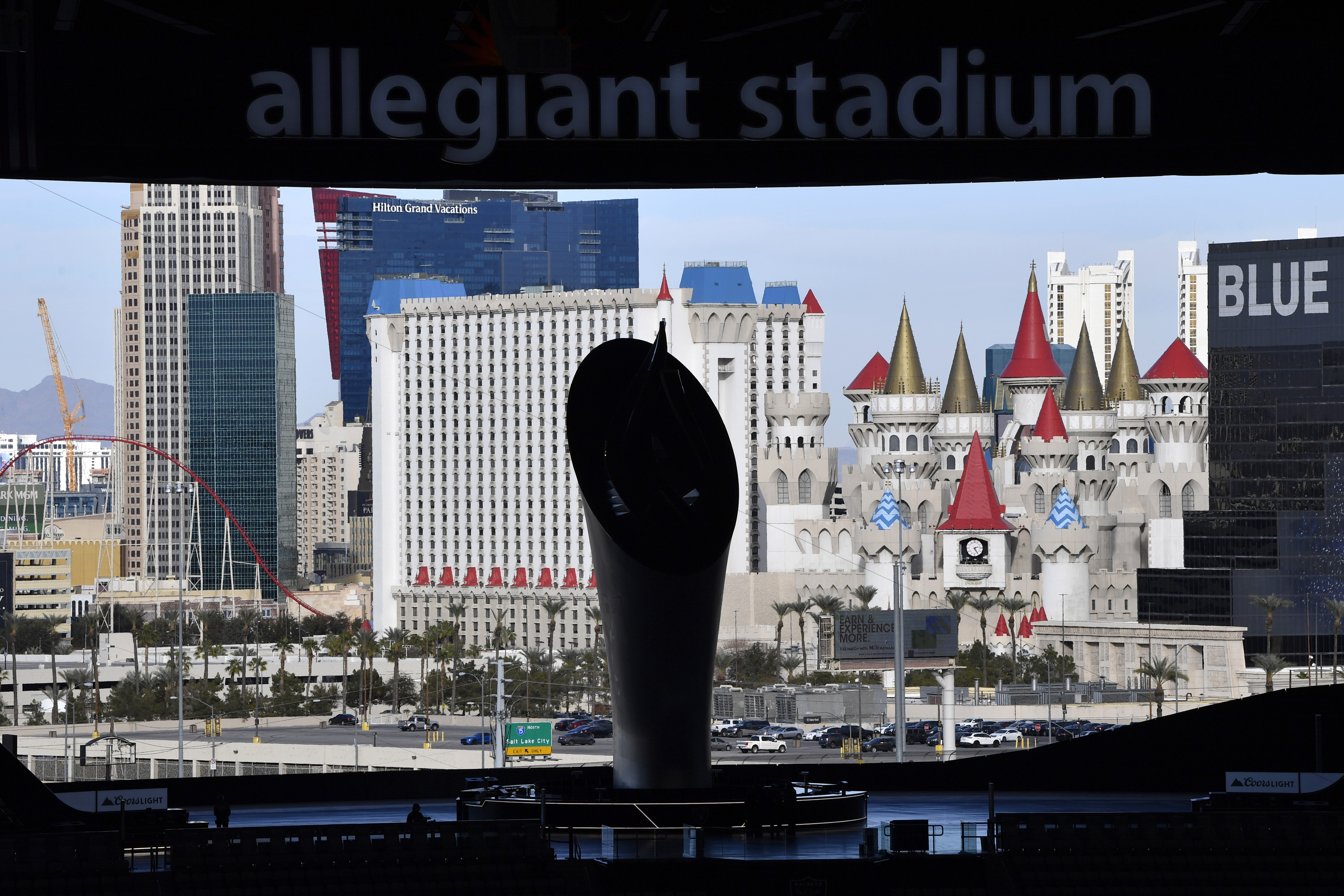 The view of the Las Vegas Strip from inside Allegiant Stadium, home of the Raiders.