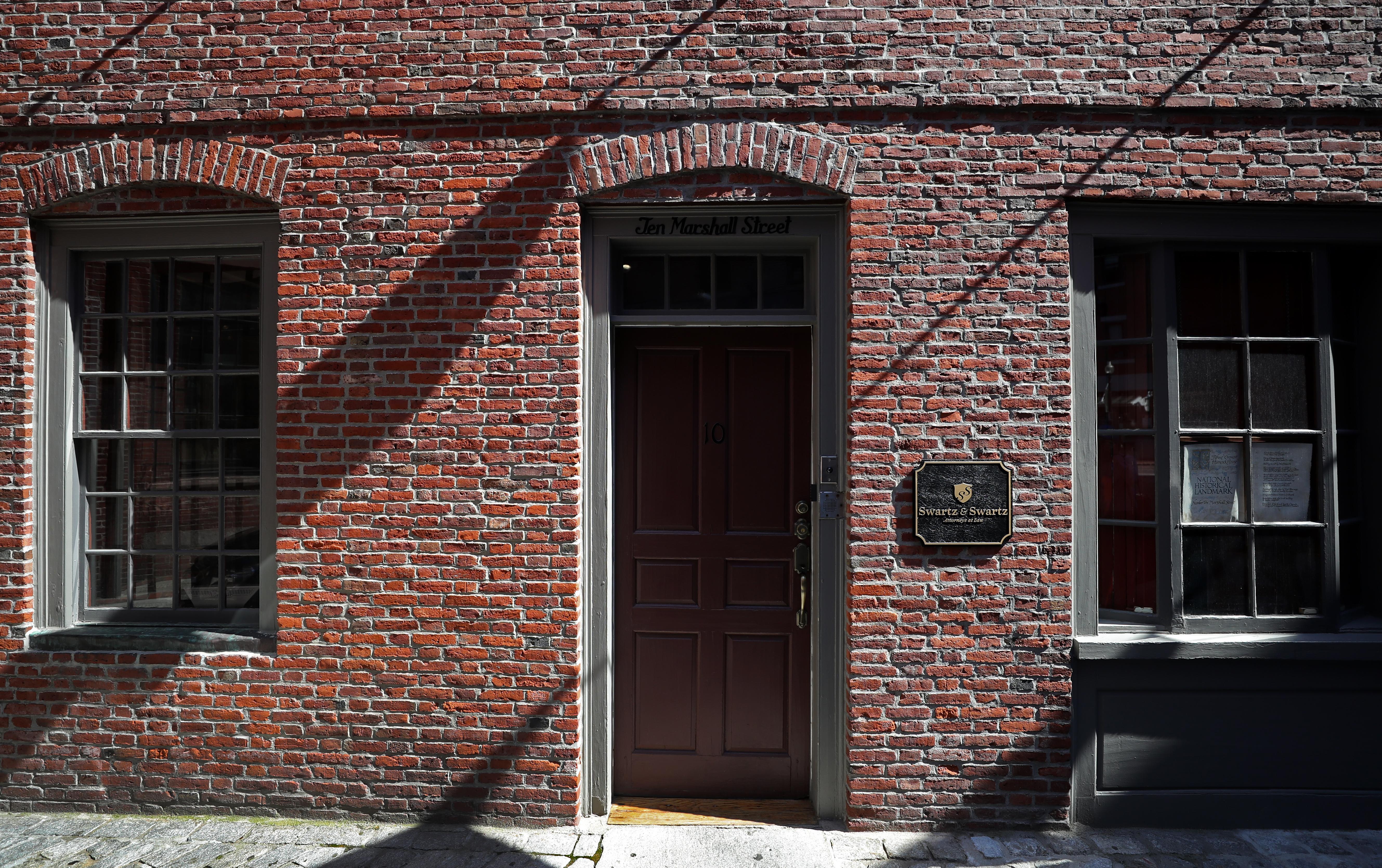 A detail of the Ebenezer Hancock House, 10 Marshall St., Boston.