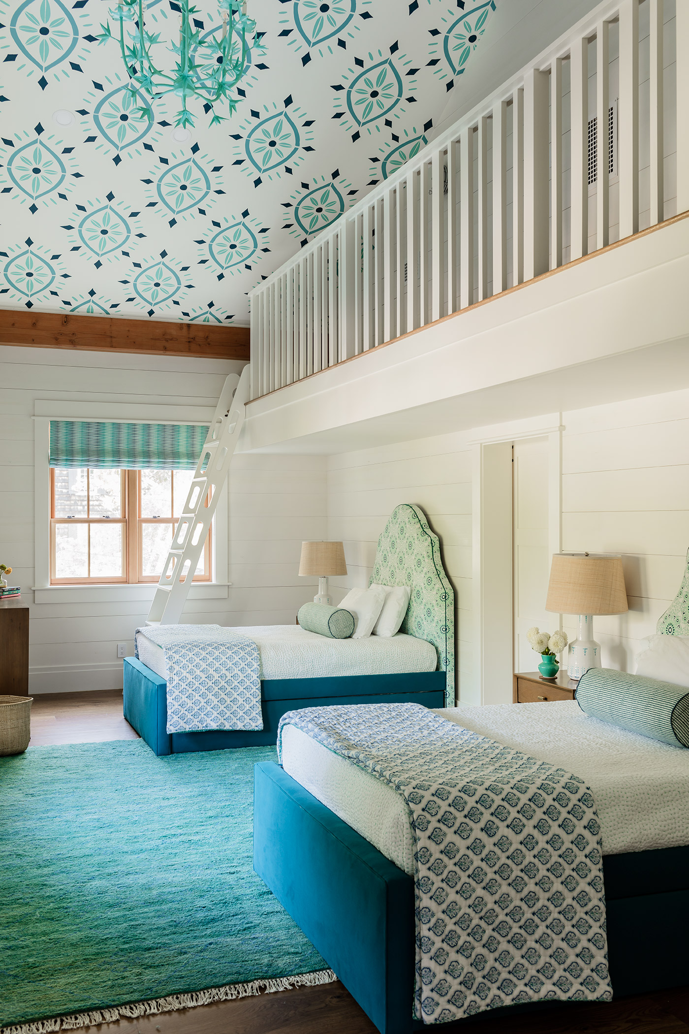 The owners of this Ogunquit summer house asked the designer to create a loft in their young daughters' bedroom.