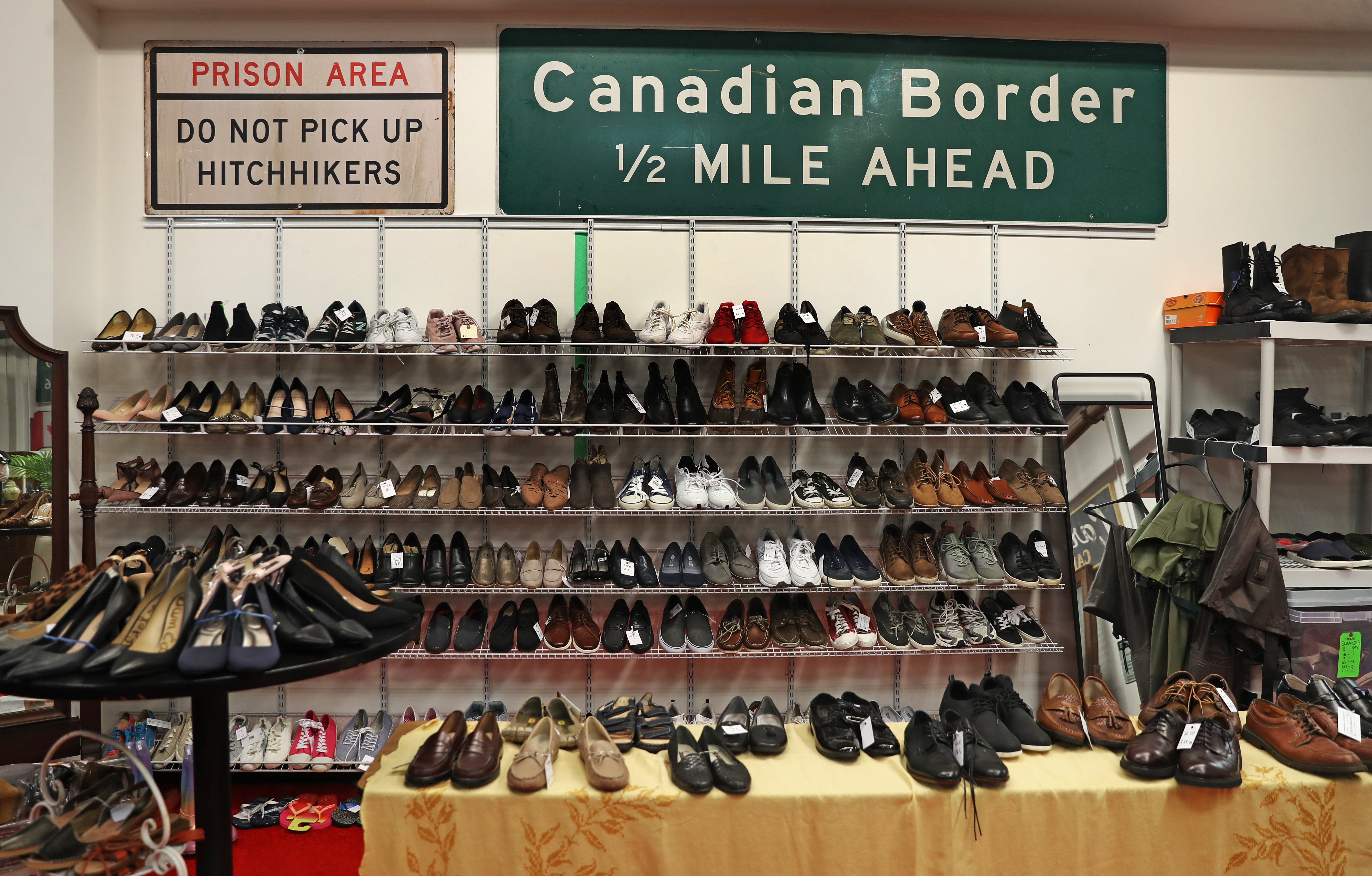 A display of shoes used by cast members of different productions at Hollywood Salvage in Westborough, a thrift shop that sells old movie props, costumes, and memorabilia.