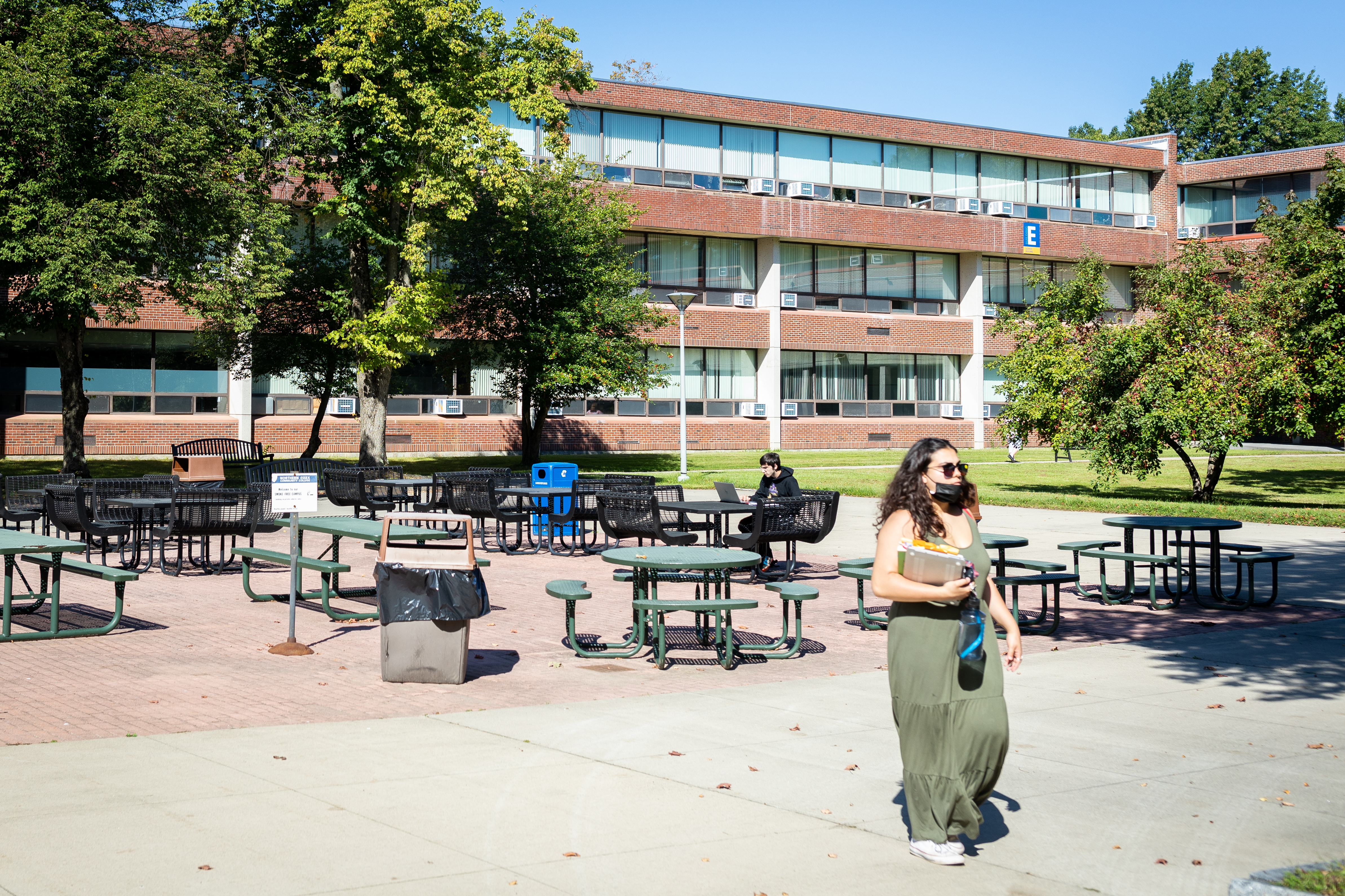 Northern Essex Community College students can work outdoors in several outdoor spaces on the Haverhill campus.